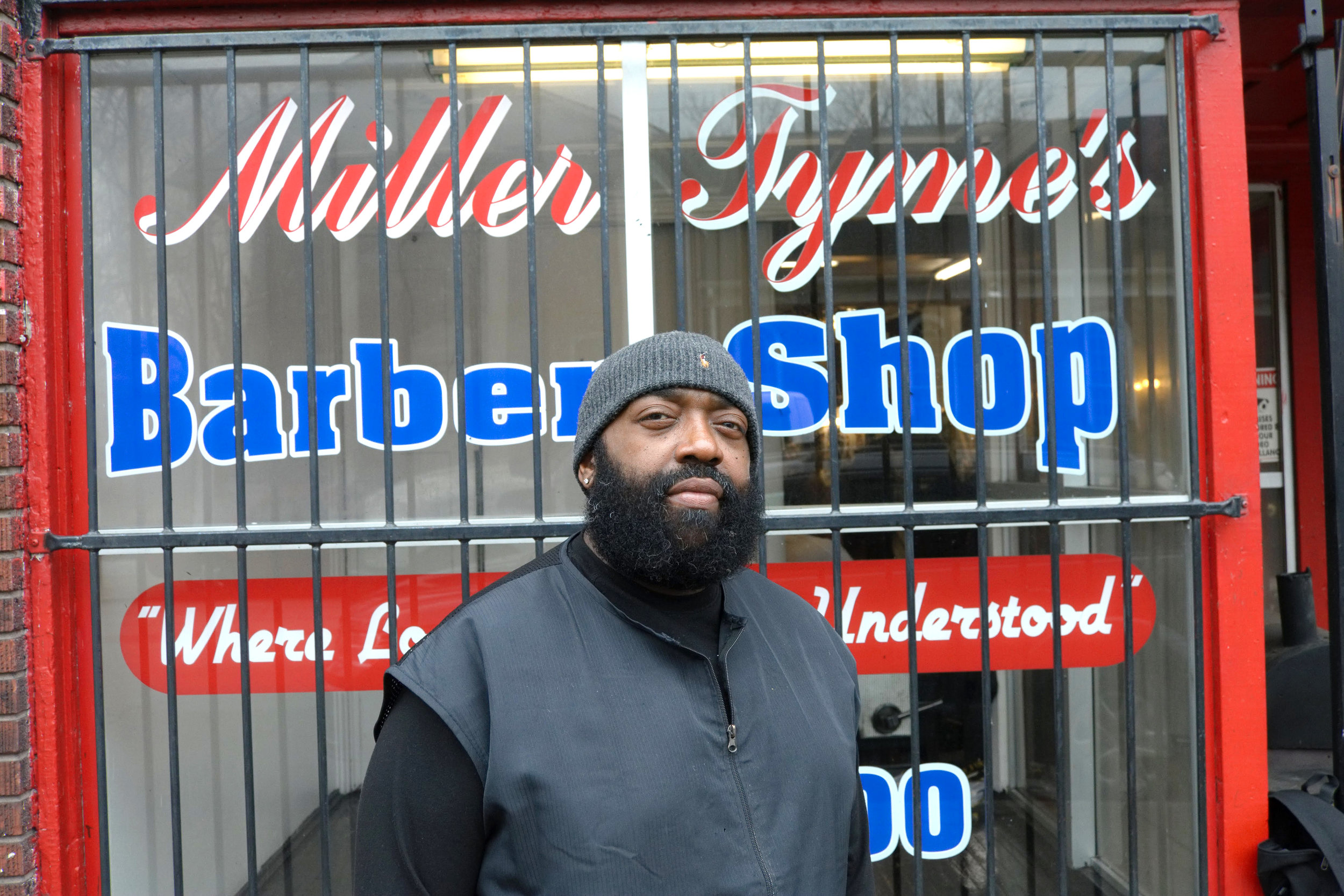 """""""What got me into barbering? There was these older guys, by Chickasaw, Markie D and Big Norm. I swept hair for them, so I wanted to be like them. One of them gave me a pair of clippers and I started cutting hair in my house for a dollar. I was 13 and I'm 47 now. That was a long time ago. I didn't get my barber license until I was 20. I was a youngster and I was intrigued by it.  Well, I was a barber for almost three years, then I started Miller Tyme. What I did was come out of school and I worked for a man named Brown Sugar off 8th & Broadway. I learned from him how to run a business and how not to run a business. After that, I worked at Fadz on 23rd & Broadway. I opened that up for a gentleman and that's what taught me how to open a shop because I opened that one up for him. After that, the rest is history. I've been having Miller Tyme for 23 years.  My grandparent instilled in me to treat everybody fair and that's why business keeps coming back. Yeah, they instilled in me to treat everybody fair, do the best I can, and wake up early and come to work. Don't stay in the bed. The early bird gets the worm.  The kids inspire me. A lot of them are lost and some of them are not lost. I wanna reach the ones that are by talking to them and cutting their hair. You know, let them see what I do and maybe follow my footsteps.  My advice to anybody who wants to start a business is to treat people fair. Have firm hours. You want people to get to you. You don't want to come to work at one o'clock, you wanna come early. When you open up your business, open up early and leave late. You gotta do what you gotta do. It's gonna be struggles but opening up early is the best advice. Put that stamp on it and help the community.  The West End needs hope. We need some of these businesses, like Brown Forman and Reynolds, that are in the West End to put something back into and help develop the West End. What are you doing as a big business, that's making billions of dollars, to help the commu"""