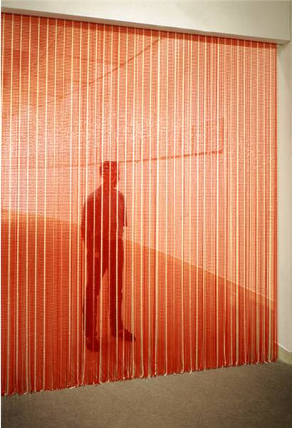 Felix Gonzalez-Torres, Untitled (Blood) , 1992. Installation with plastic beads & metal rod. Photo: Boston Phoenix.