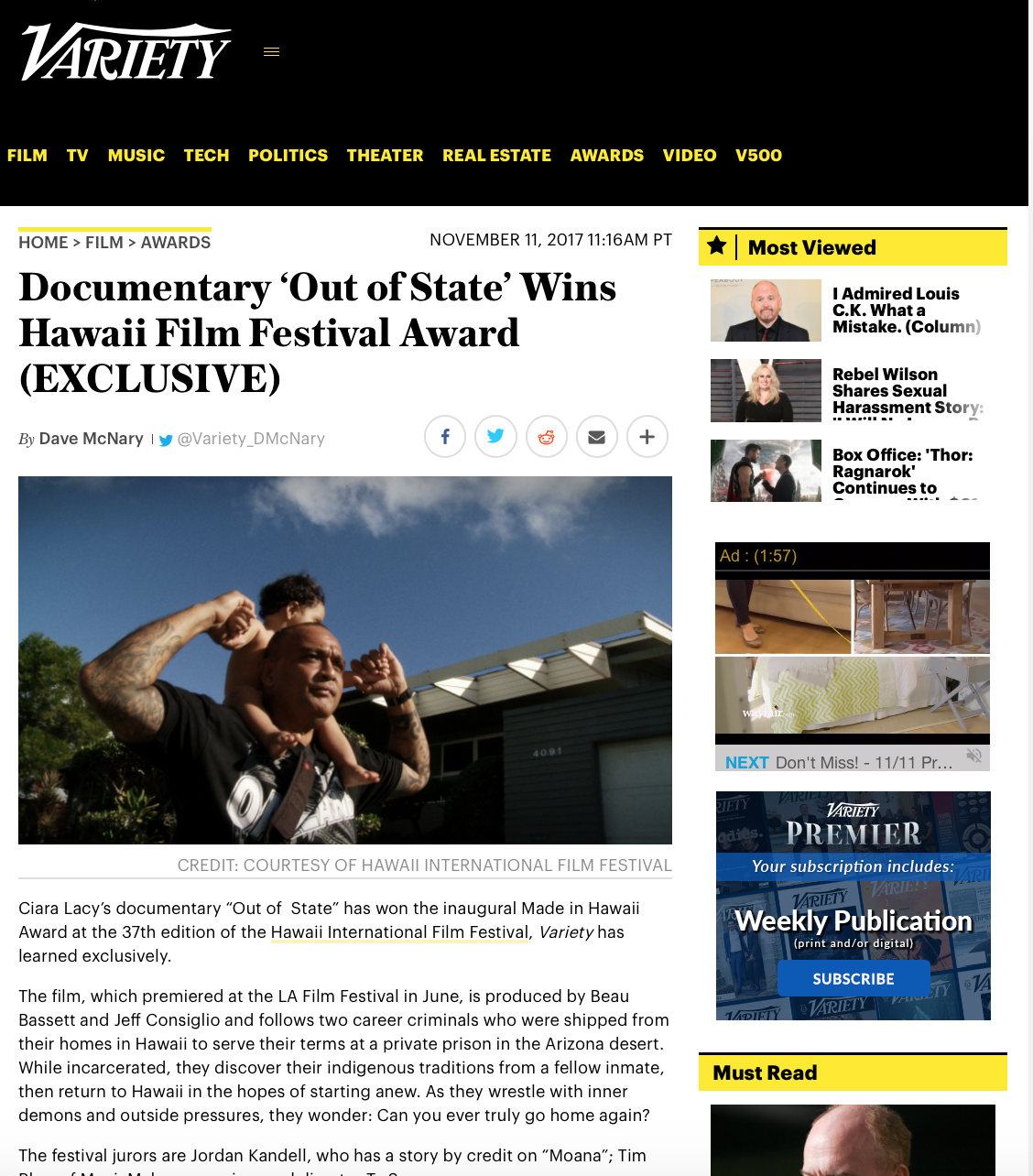 "From the jury: - ""The themes that this powerful, poetic film explores are specifically grounded in a uniquely Hawaiian experience — exploring the struggles of contemporary Hawaiians through an intimate, honest, and empathetic lens,"" the jury said. ""Yet the story this film tells, the complex characters it follows, and the struggles they face have universal relevance."""