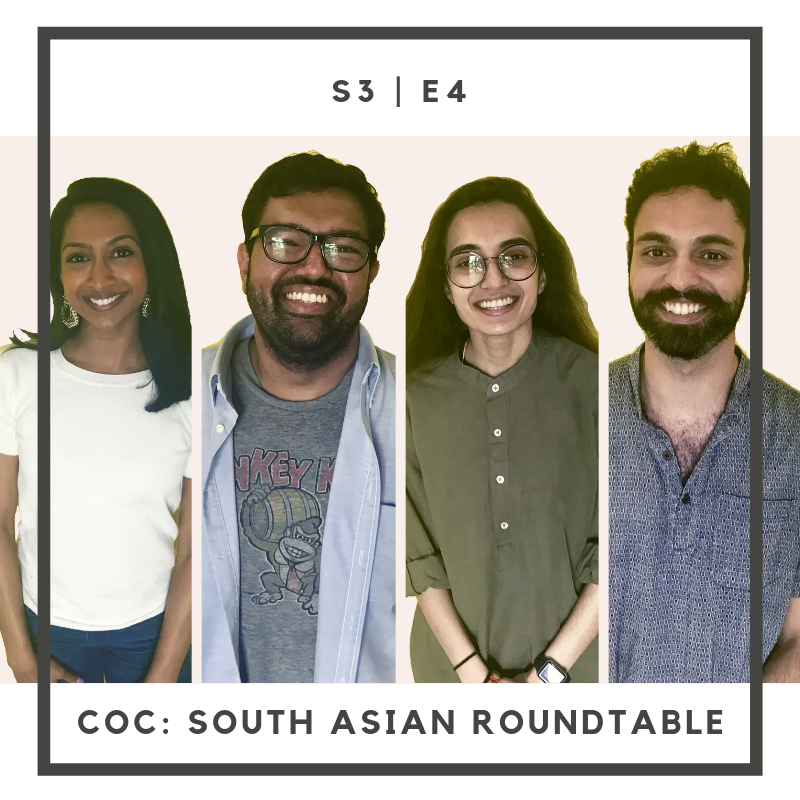 """In Season 3 Episode 4, meet our South Asian Roundtable: Rashmili (South Indian-American), Gurtej (Punjabi-American), Ketan (North Indian-American) and Kripa (North Indian-American)!  We discuss a wide variety of topics for our Complexities of Complexion series including how colorism and gender play major roles in Bollywood (and Tollywood), feeling """"other,"""" skin bleaching and so much more.  Perrine and Skye start the episode off by discussing colorism in media and cinema.  Full musical composition by Nick Stubblefield:  www.nickstubblefield.com   Learn more about The Carolina Desi podcast: @ thecarolinadesi   Edited by Perrine DeShield"""