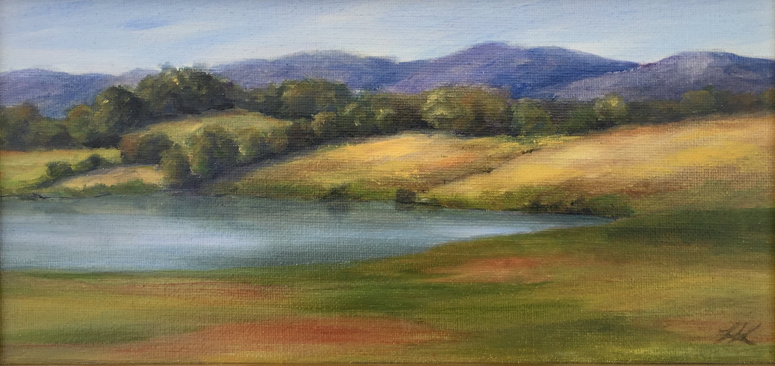 Pond in Summer; oil on canvas; 6 x 12; $270