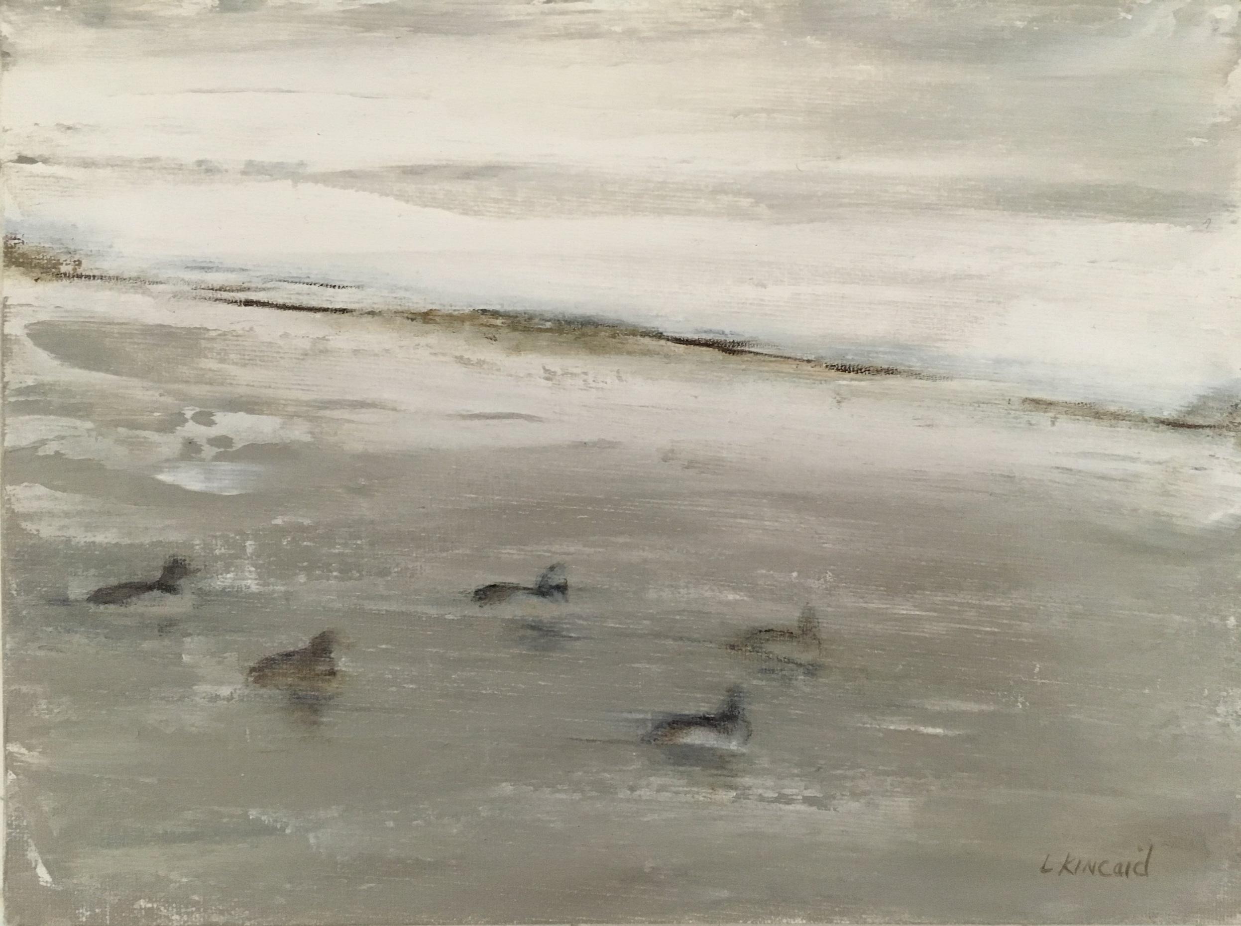 Ducks in Snowstorm; oil on canvas; 9 x 12