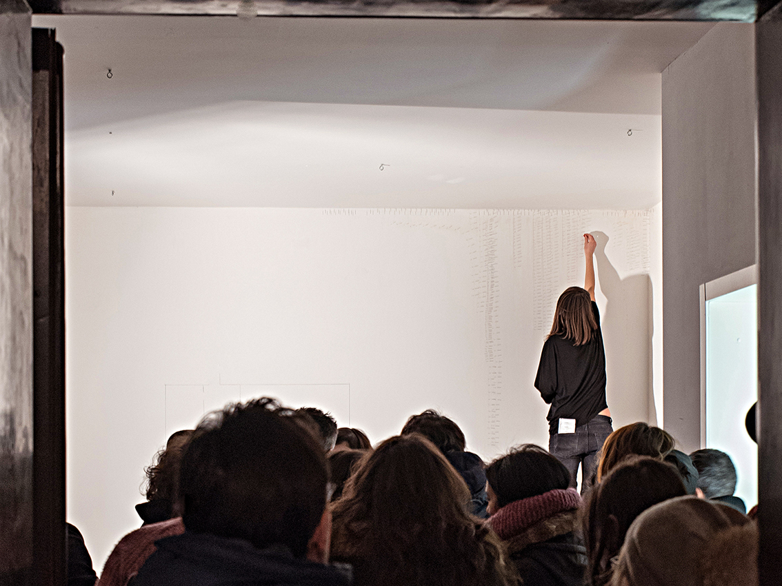 06_healing intervention for domestic wounds_acupuncture needles and walls_View from the show Maison.Ventidue, Bologna_2017.jpg