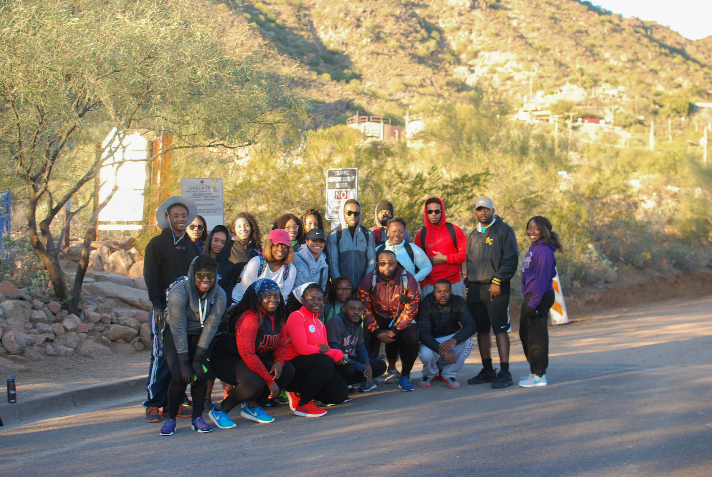 A group of (mostly) rookie hikers in Scottsdale, AZ, getting ready to hike Camelback Mountain!