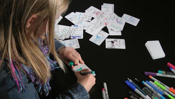Lillian working on the original card illustrations.