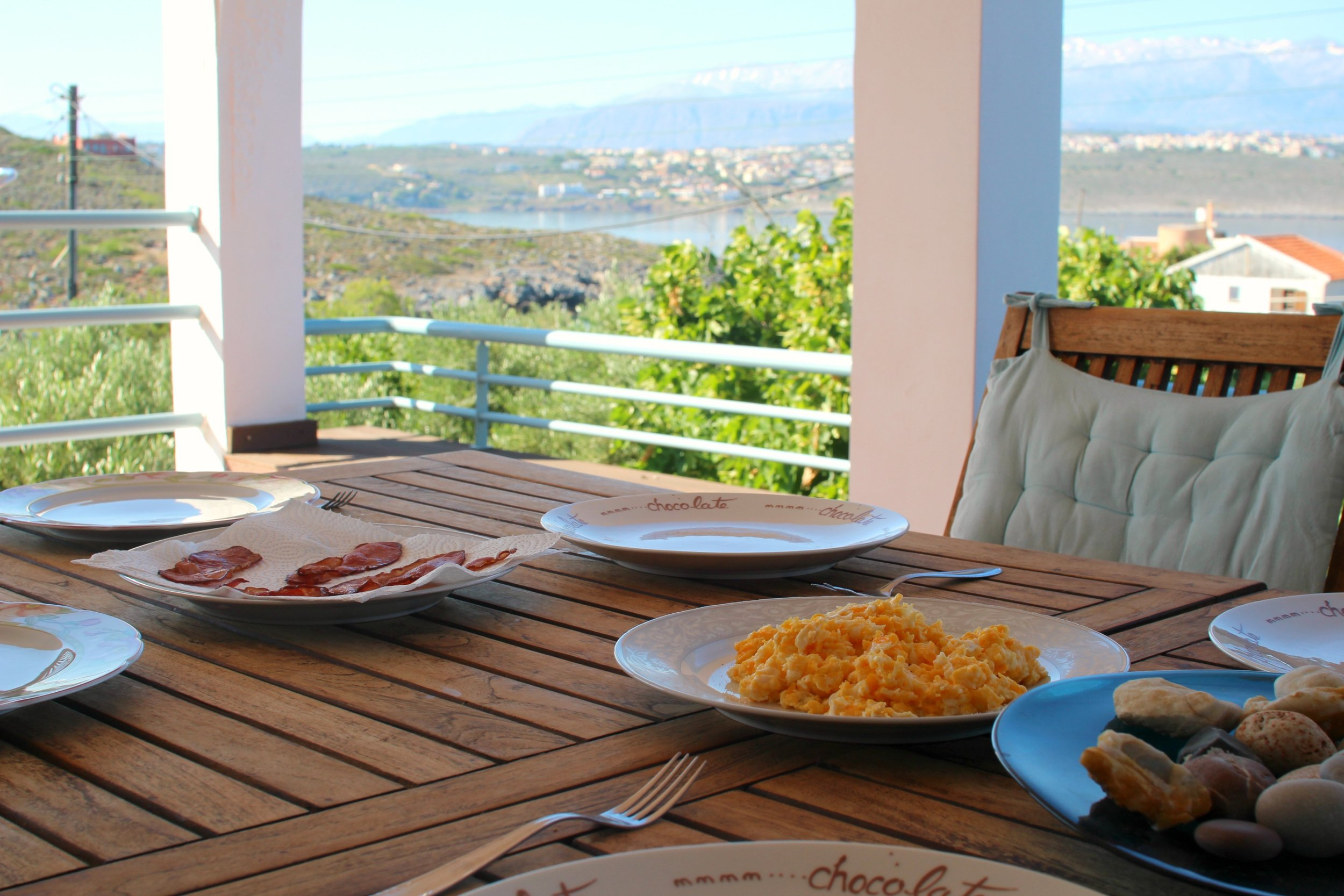 Breakfast with a view at the beautiful Villa Kiara. Bonus points for being 20m from a great, local beach!