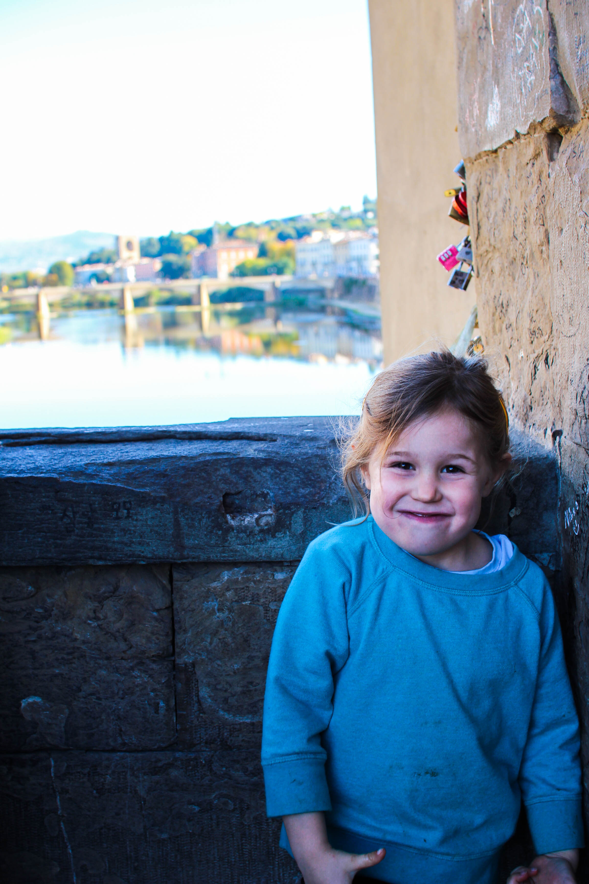 Under the love locks on the Ponte Vecchio