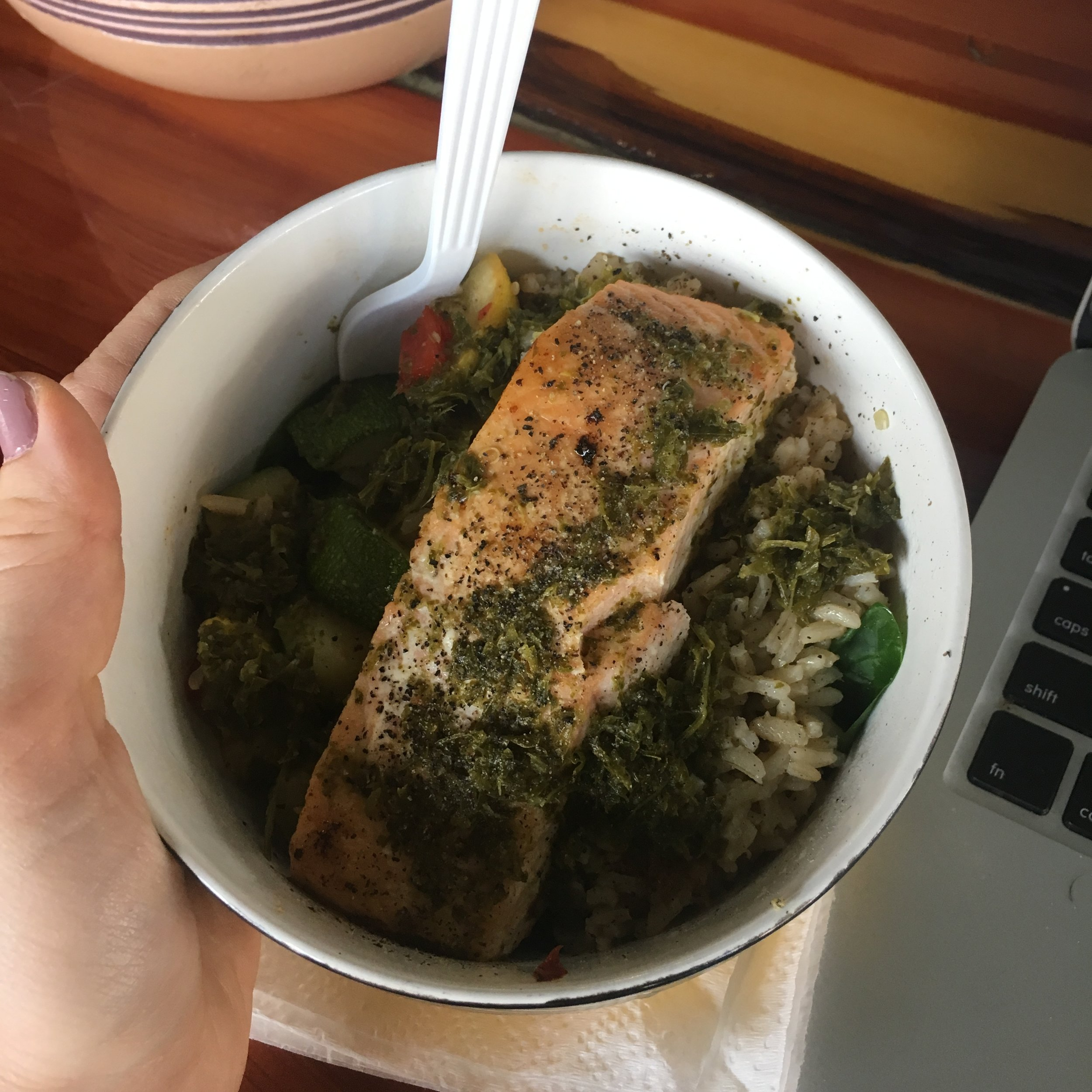 Salmon with sautéed veggies and brown rice!