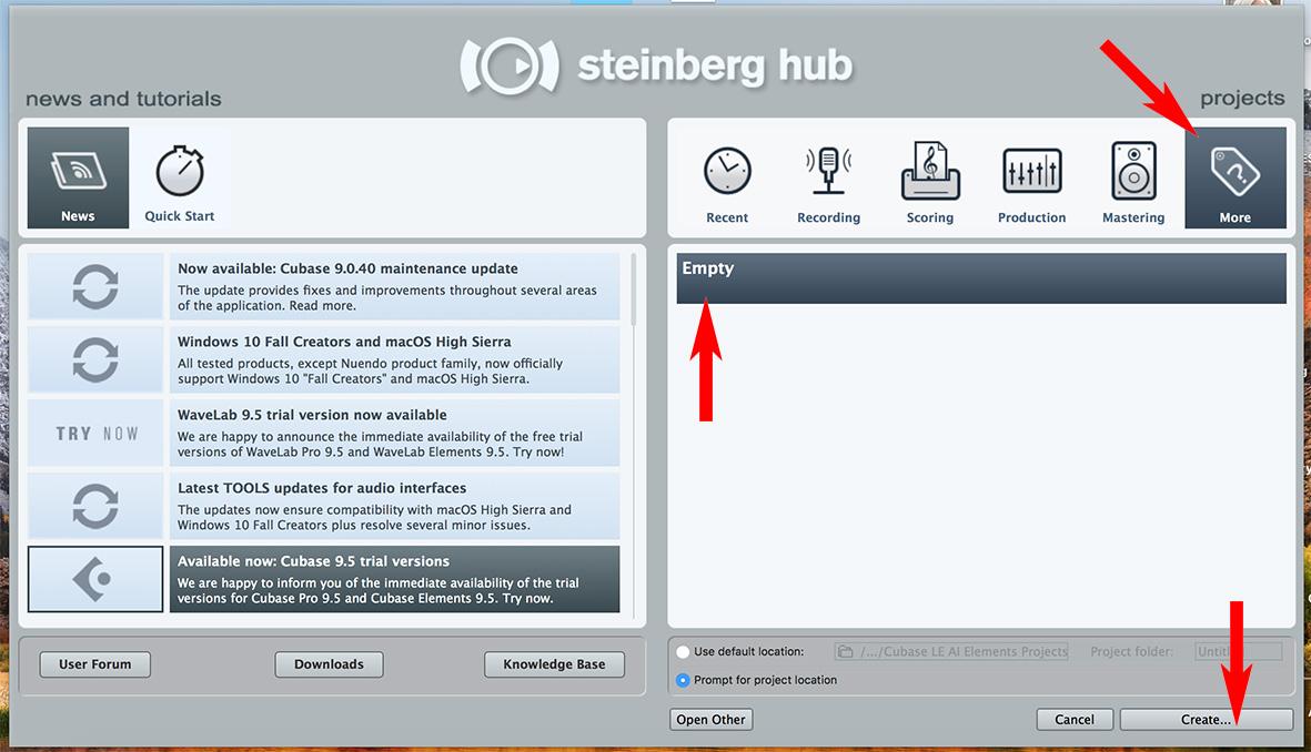 Steinberg Hub Panel