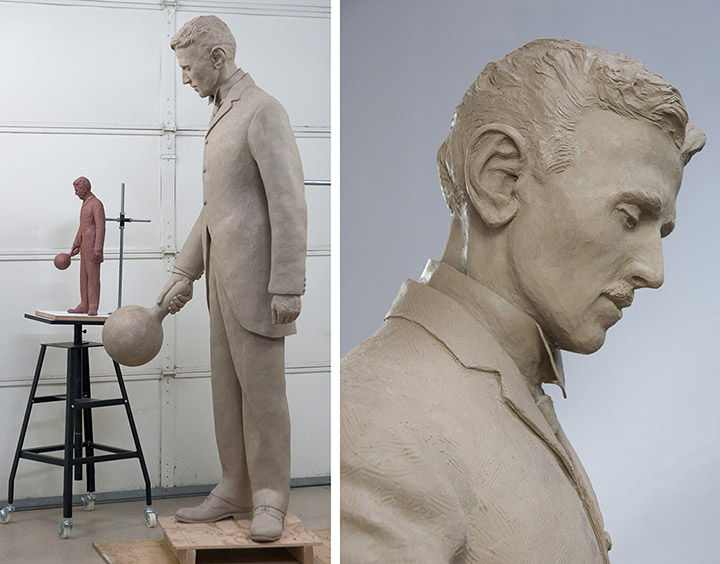 An improved portrait image of Nikola Tesla is made into a highly-detailed full sized clay to be used as the artwork master which will be molded and cast in silicon bronze. The metal casting is done in the lost wax process to preserve all the detail in the original clay artwork.