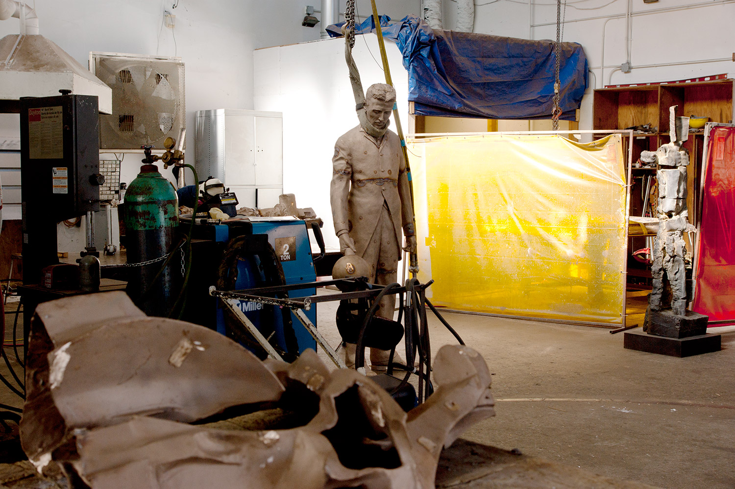 "IT'S ALIVE !! ""A Statue of Nikola Tesla in the Silicon Valley"" is almost done. Bronze cast in pieces, it is spot welded back together waiting for me to check the accuracy of assembly before final welding and chasing."