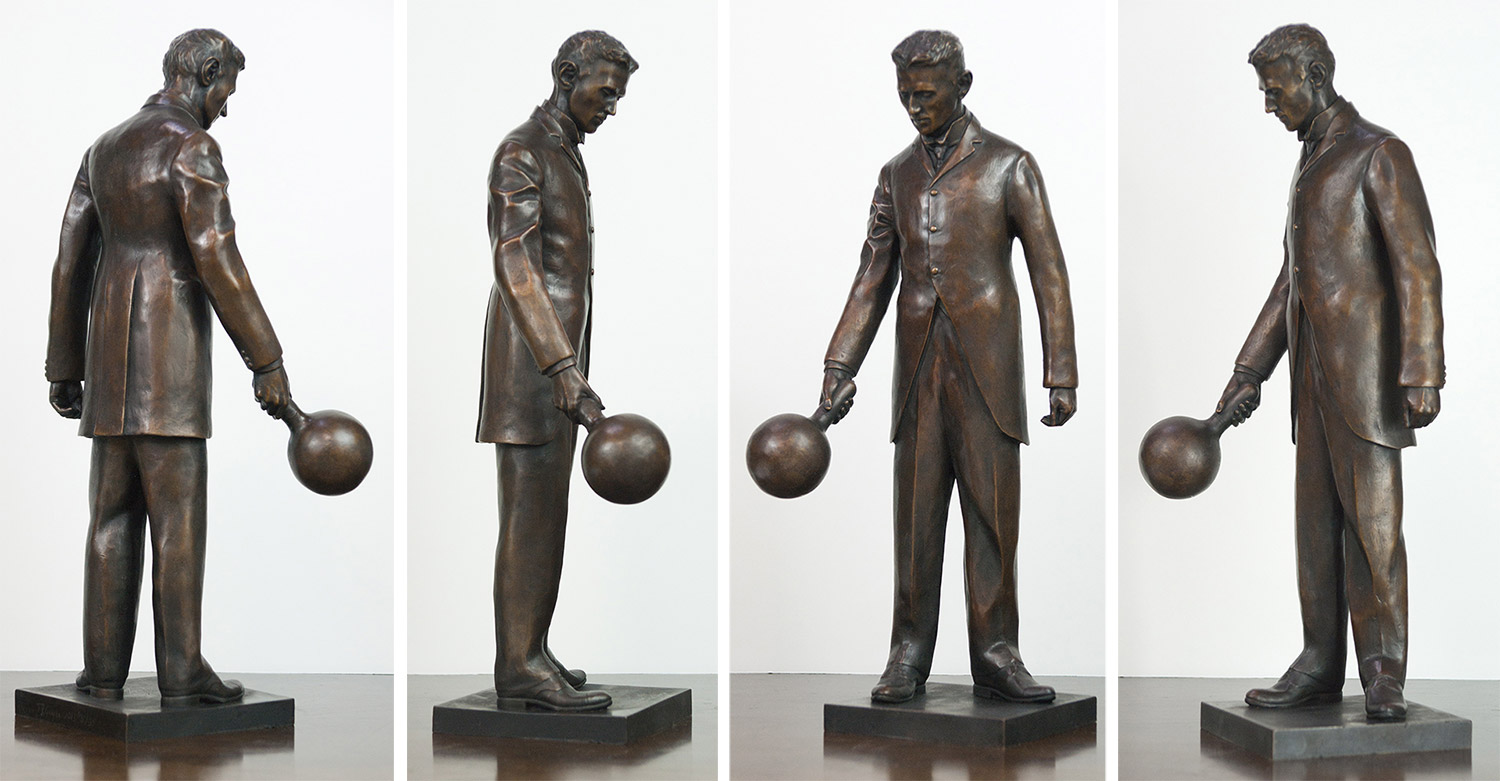 """The 18"""" bronze replica for four different angles. The replica holds all the fine detail of the 7-foot statue"""