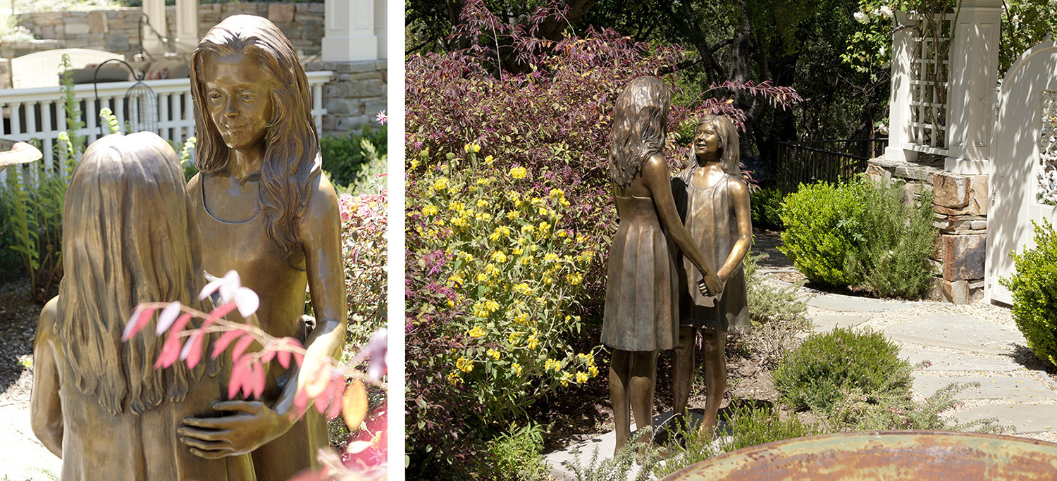 New bronze of their young ladies installed in their garden in full view of their living room and sun room