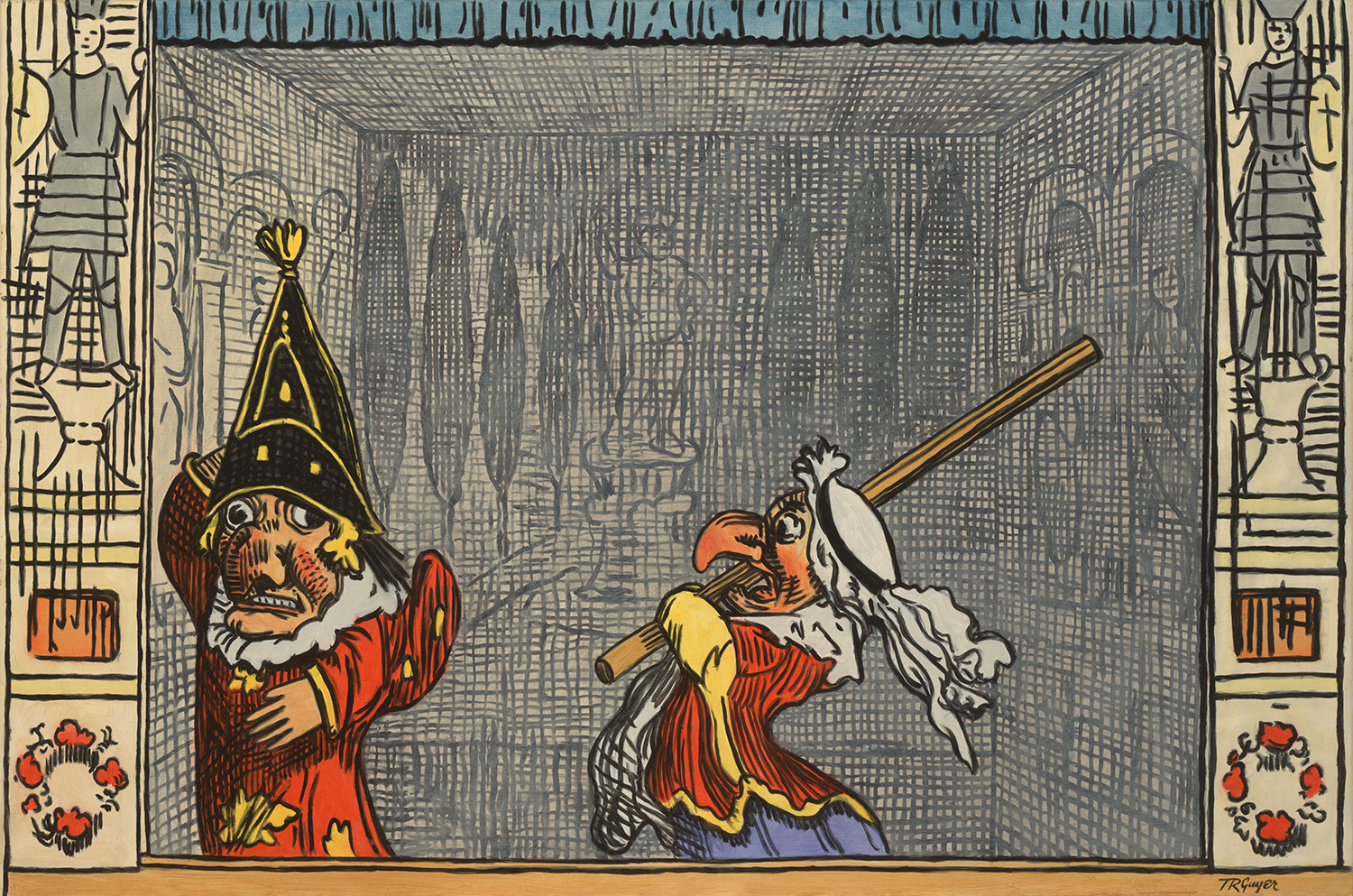 """""""Punch and Judy"""" after a George Cruickshank engraving – 24 x 36"""" oil on linen"""