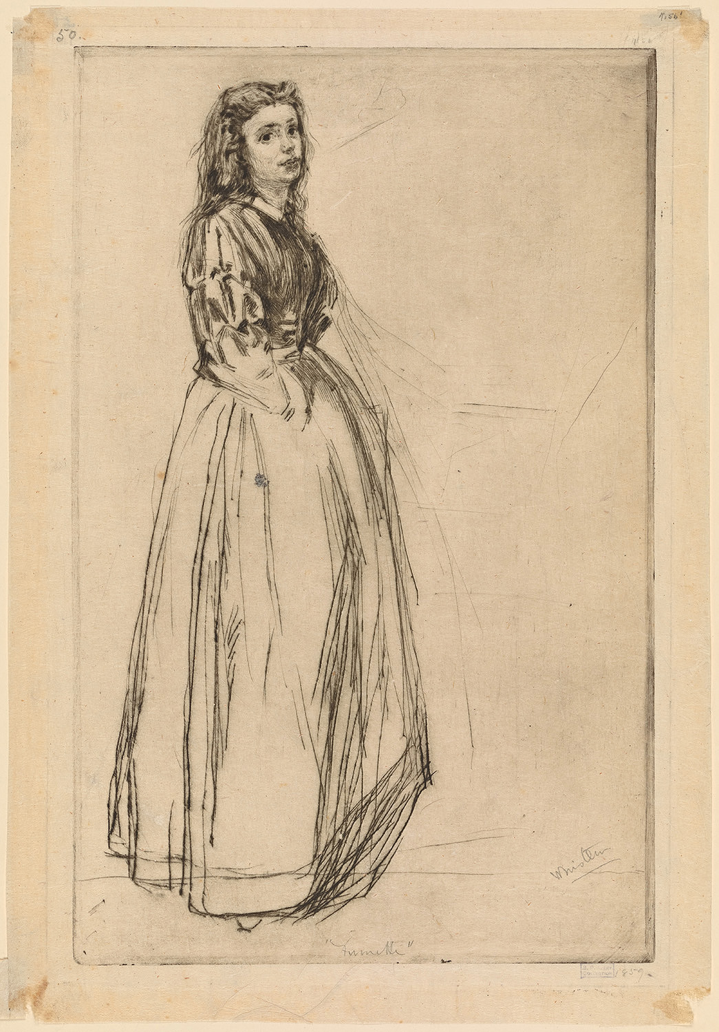 """""""Fumette Standing""""1859 etching  by J. A. M.Whistler"""