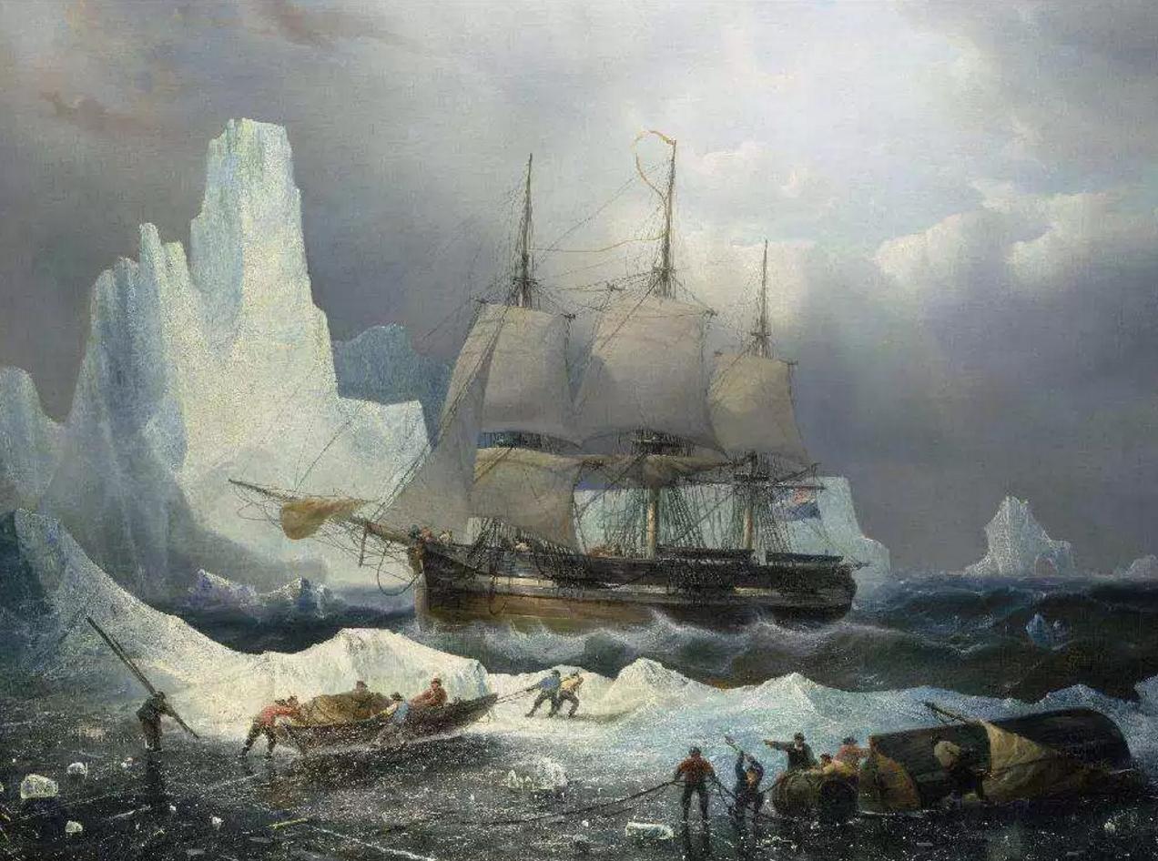 Une Peinture 'HMS Erebus in the Ice', 1846, par Francois Etienne Musin, 19th century.