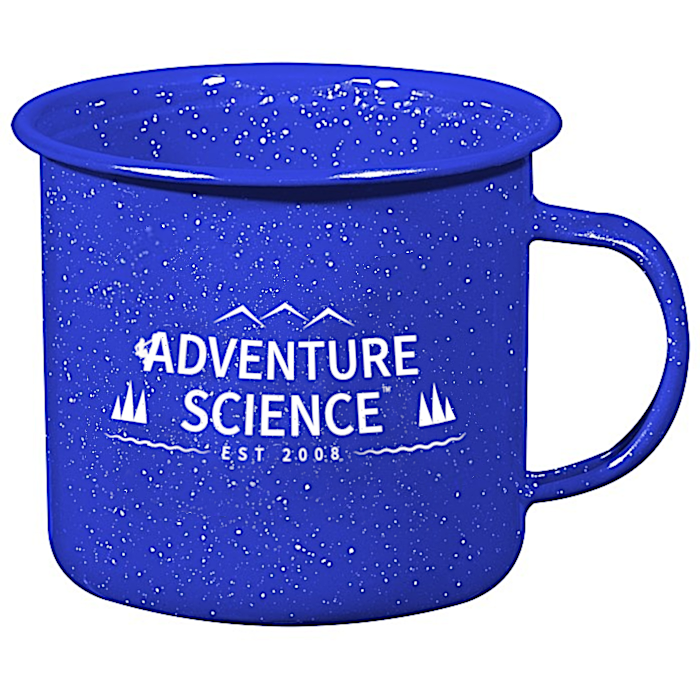 Donation of $50 or more: - For a donation of $50 or more, we'll send you our stickers and thank you card, as well as an exclusive classic enamel metal camp mug that rocks the Adventure Science logo! As an added bonus, for each additional $40 you donate, we'll send you another camp mug. (A donation of $90 = two mugs, $130 = three mugs! etc.).