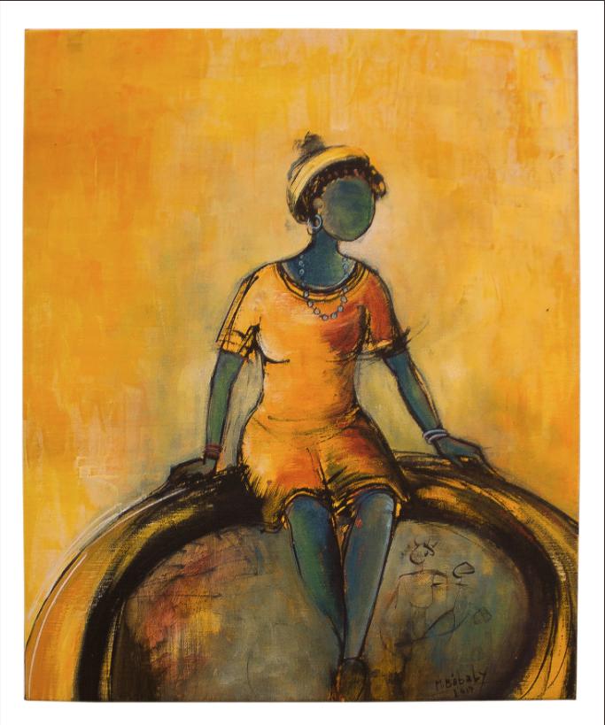 BABA LY _ Diankh Jeune fille Acrylique sur toile, 33x41 - 2017
