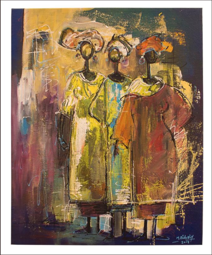 BABA LY Habillement Acrylique sur toile, 33x41 - 2017