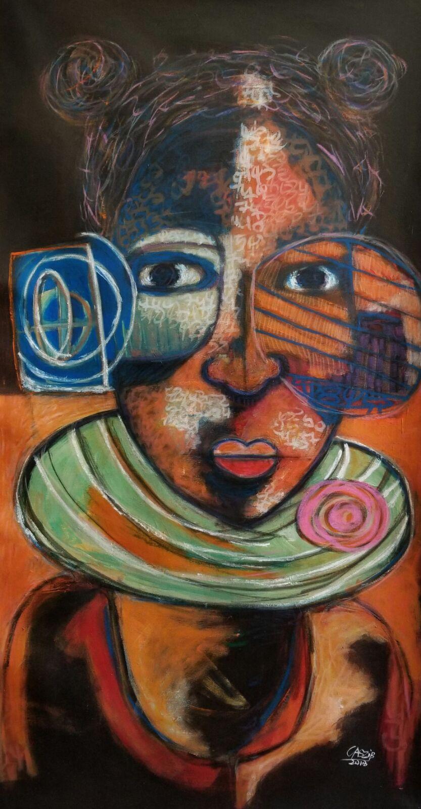 CASZI B. la jeune fille au collier Acrylique