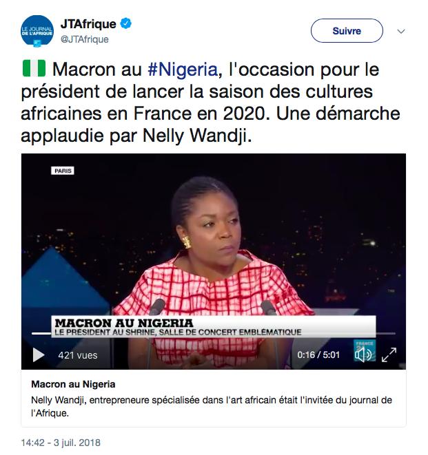 Nelly WANDJI JT AFRIQUE _ INDUSTRIES CULTURELLES & CREATIVES _ MACRON NIGERIA