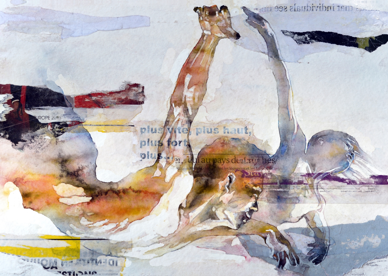 Bruce Clarke 8    Plus vite. Plus haut, Plus fort   Aquarelle/Collage
