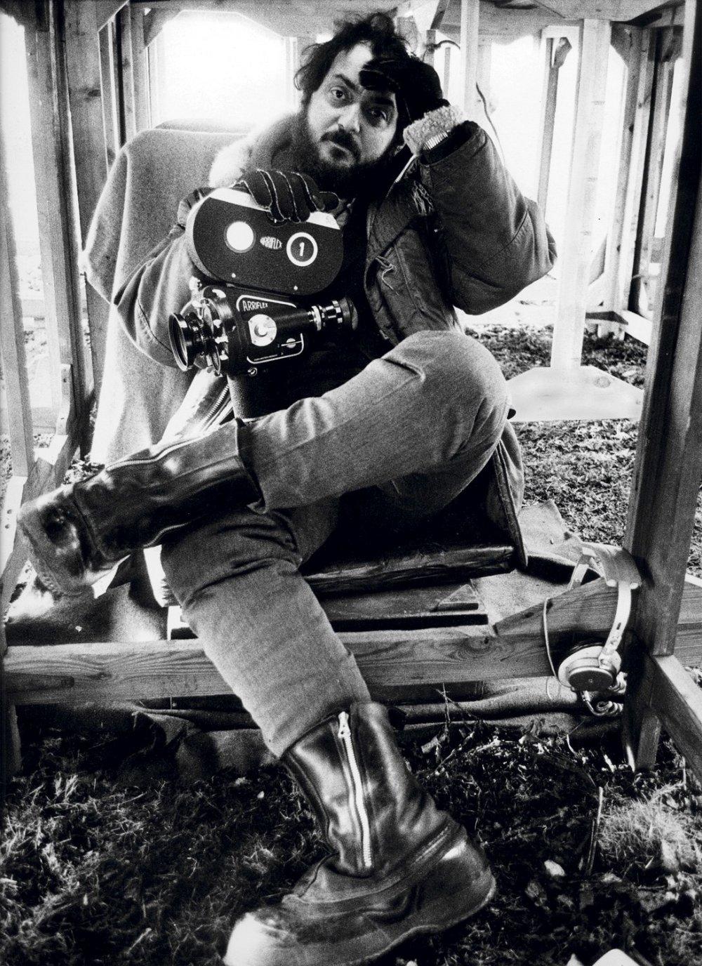 Stanley Kubrick, photographed by Dmitri Kasterine in 1970 on the set of  A Clockwork Orange  -  Image via:    bfi.org.uk