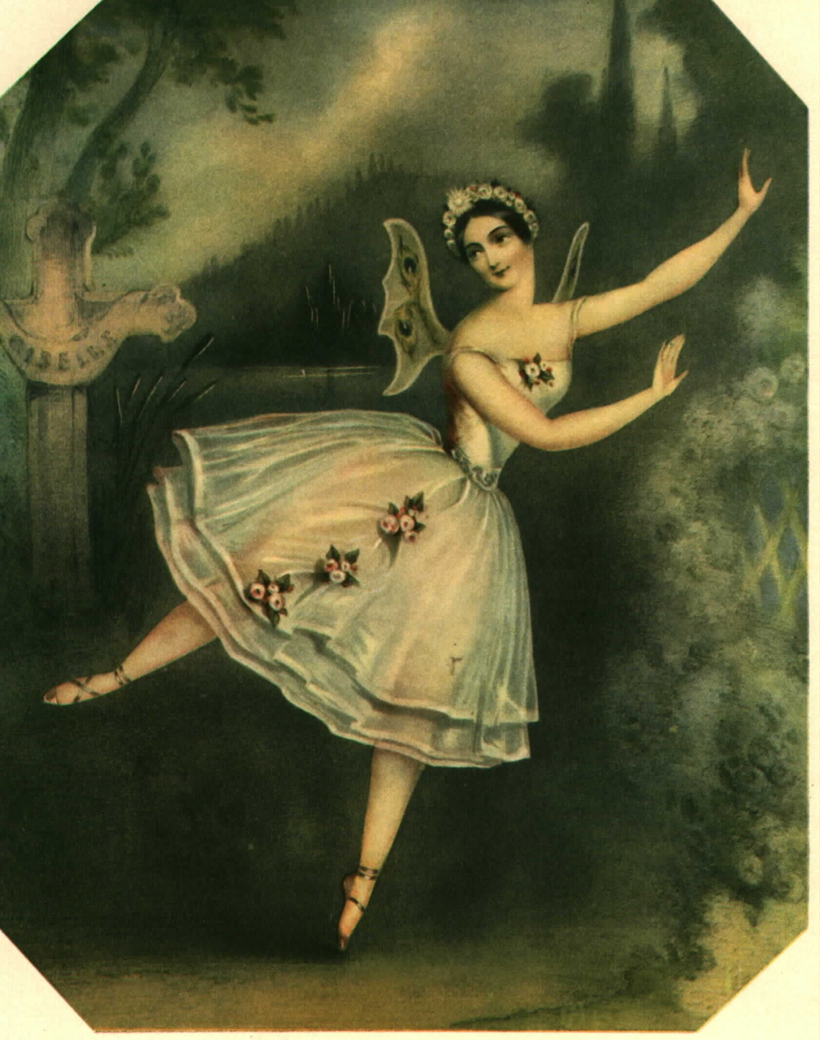 1841 lithograph of ballerina Carlotta Grisi in the title role of  Giselle  (artist unknown)