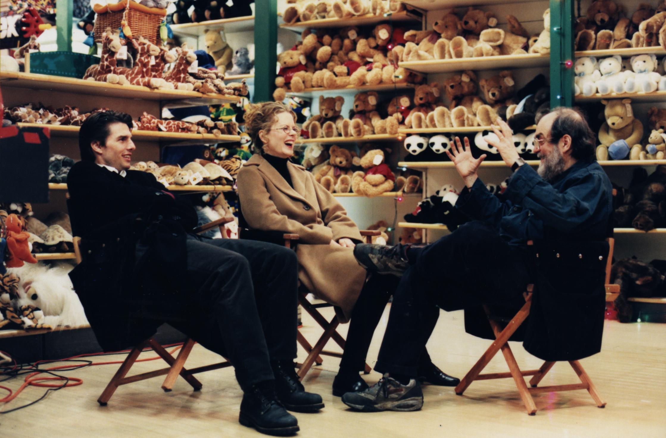 Cruise, Kidman, & Kubrick, on the set of the last scene in  Eyes Wide Shut  —  Image via    scrapsfromtheloft.com