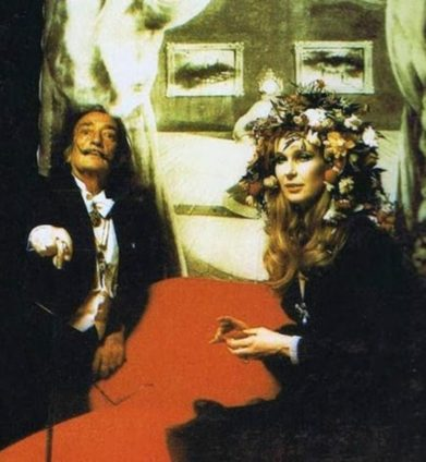"""Surrealist artist Salvador Dali (left) was one of few guests not required to wear a mask or costume at the Rothschild's """"Surrealist Ball"""" (1972)"""