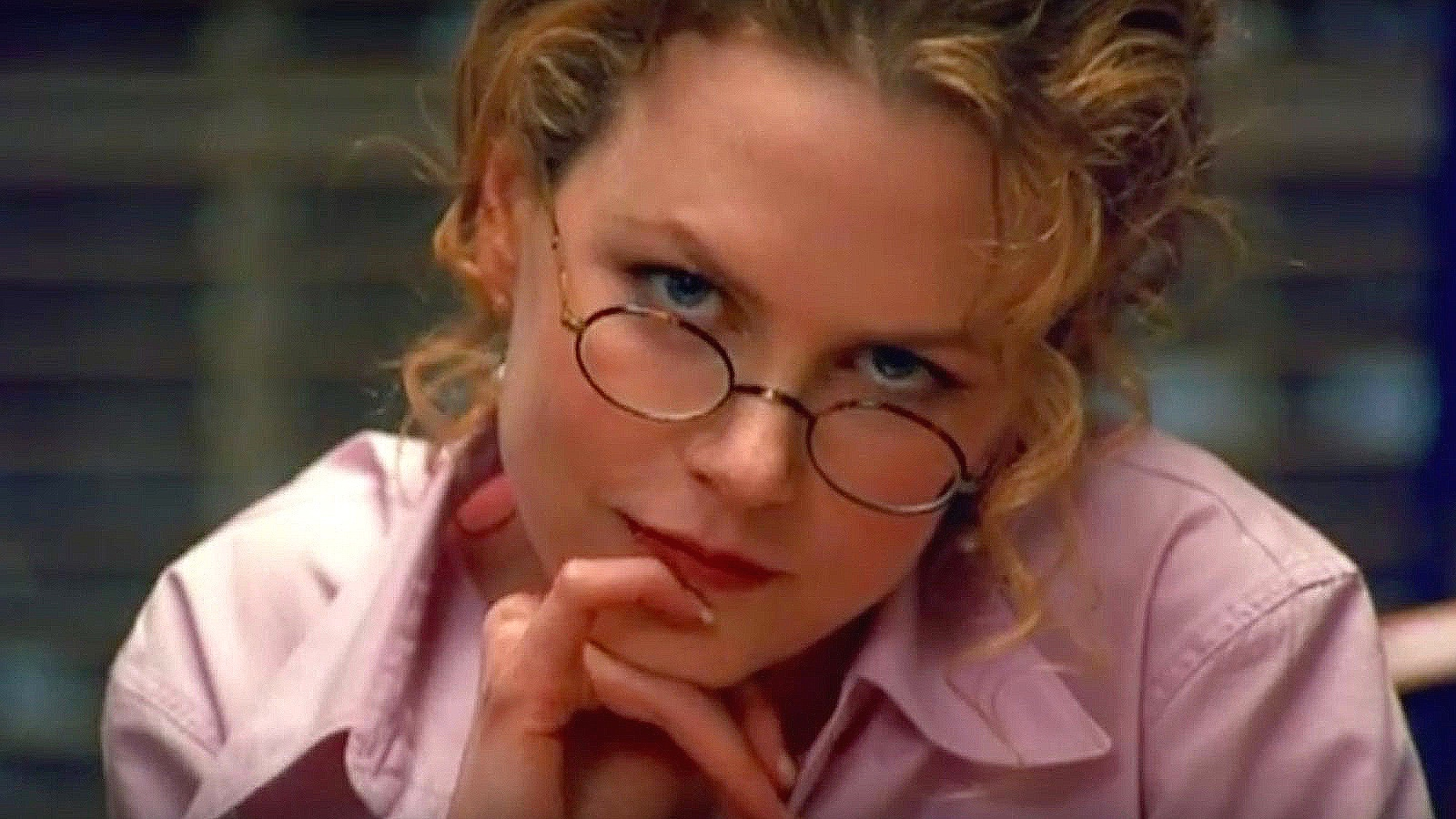 """The """"Kubrick Stare"""": when his characters look directly at the camera with head tilted slightly down—as Nicole Kidman does in this shot from  Eyes Wide Shut  (1999)"""
