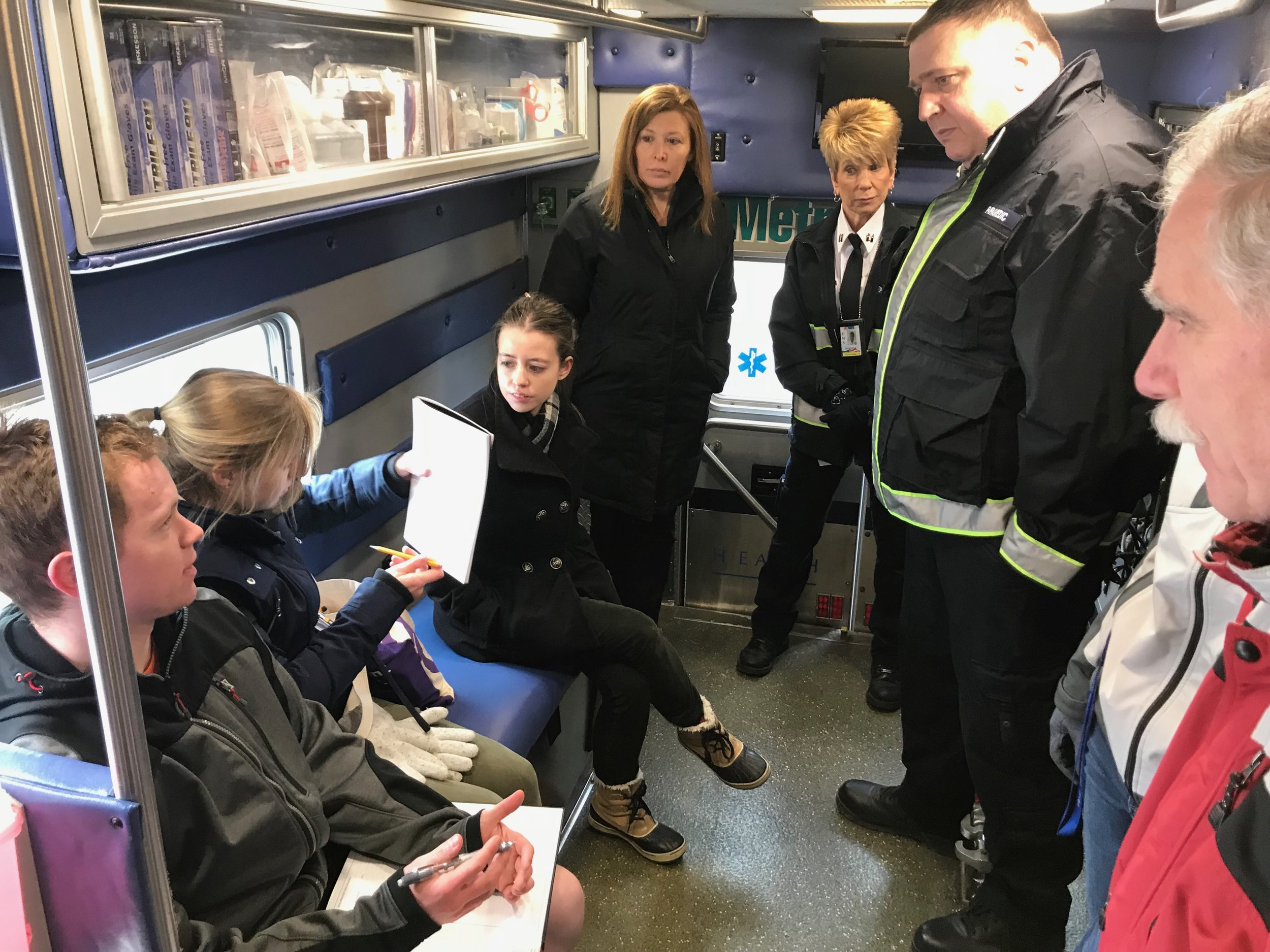 Senior Capstone Team visiting a local neonatal ambulance