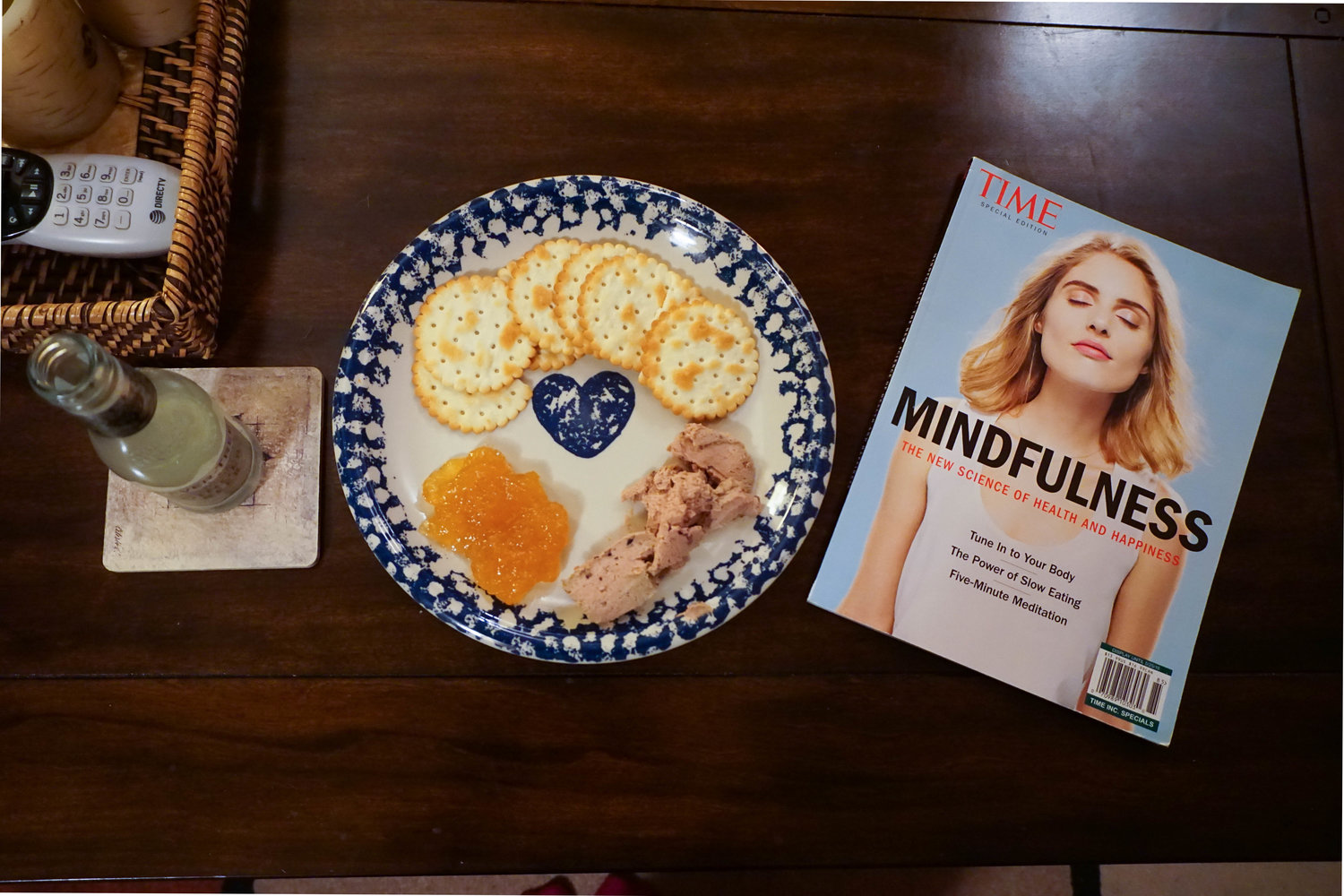 Ginger beer, Chicken liver paté, and TIME's mindfulness edition as dinner cooks…yes.