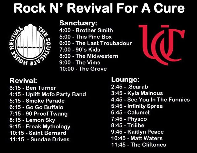 The lineup for the 4th Annual Rock n' Revival For A Cure is here! We're on at 9:15 in the Revival Room! March 9th/ $10 / All Ages (minors accompanied by an adult) / @sghrevival