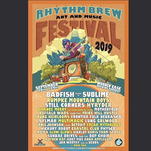 Festival announcement! We'll be back at Rhythm Brew Art & Music Fest 2019 in September, sharing the stage w/ @badfishsublimetribute + loads of great local & national acts!
