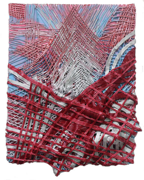 Red Vines acrylic, foam, and stone on panel 1016