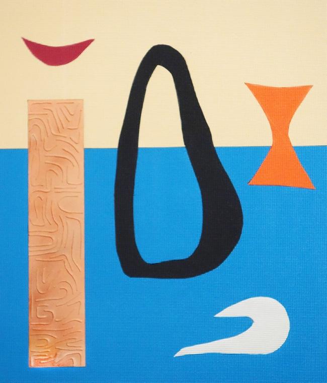 Myth Map hand-cut PVC yoga mats, acrylic, twine, and enamel on wood panel 37x32 inches 2015