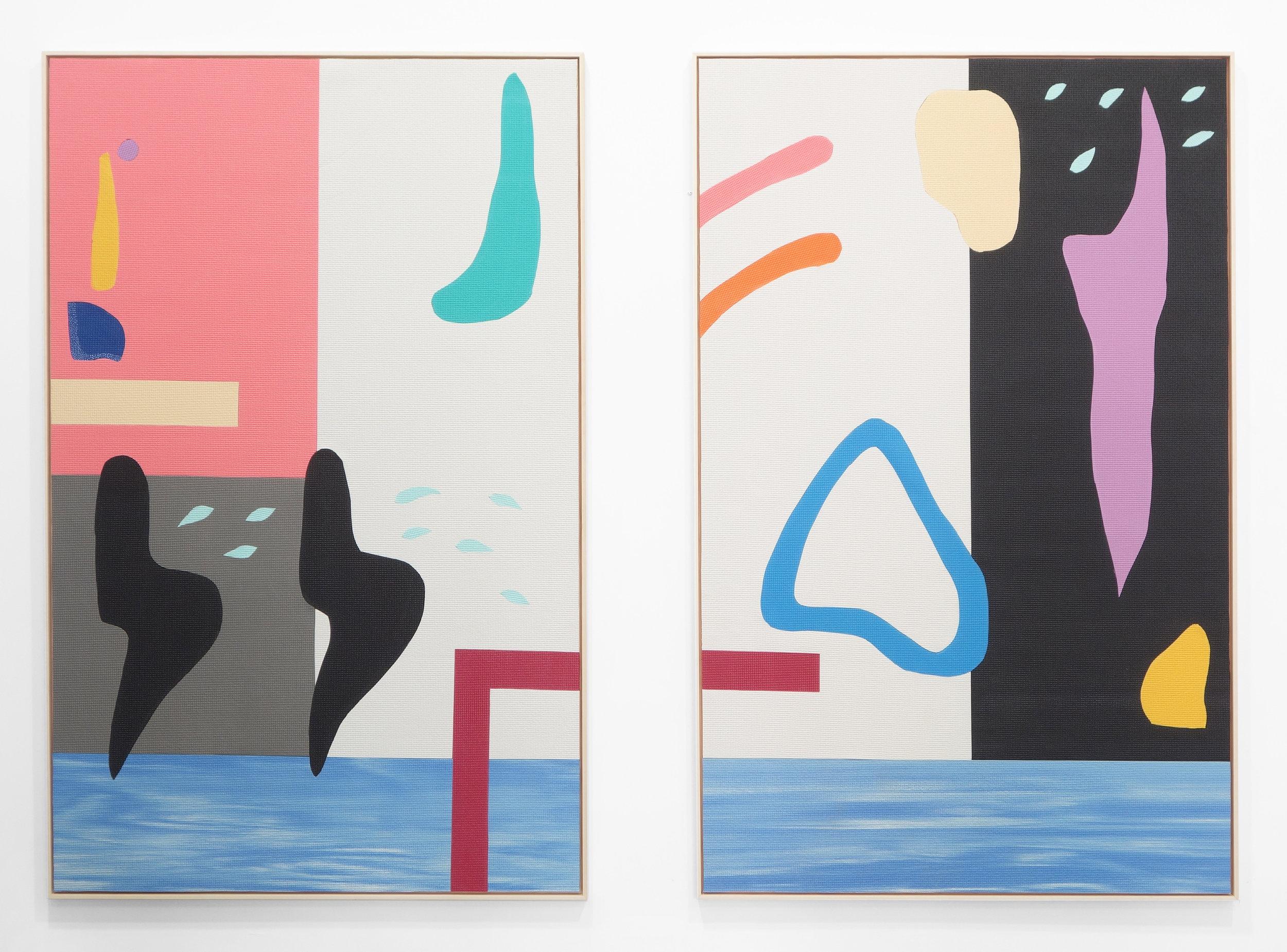 Gathering moon milk pair hand-cut PVC yoga mats on wood panel 72x48 inches each 2015
