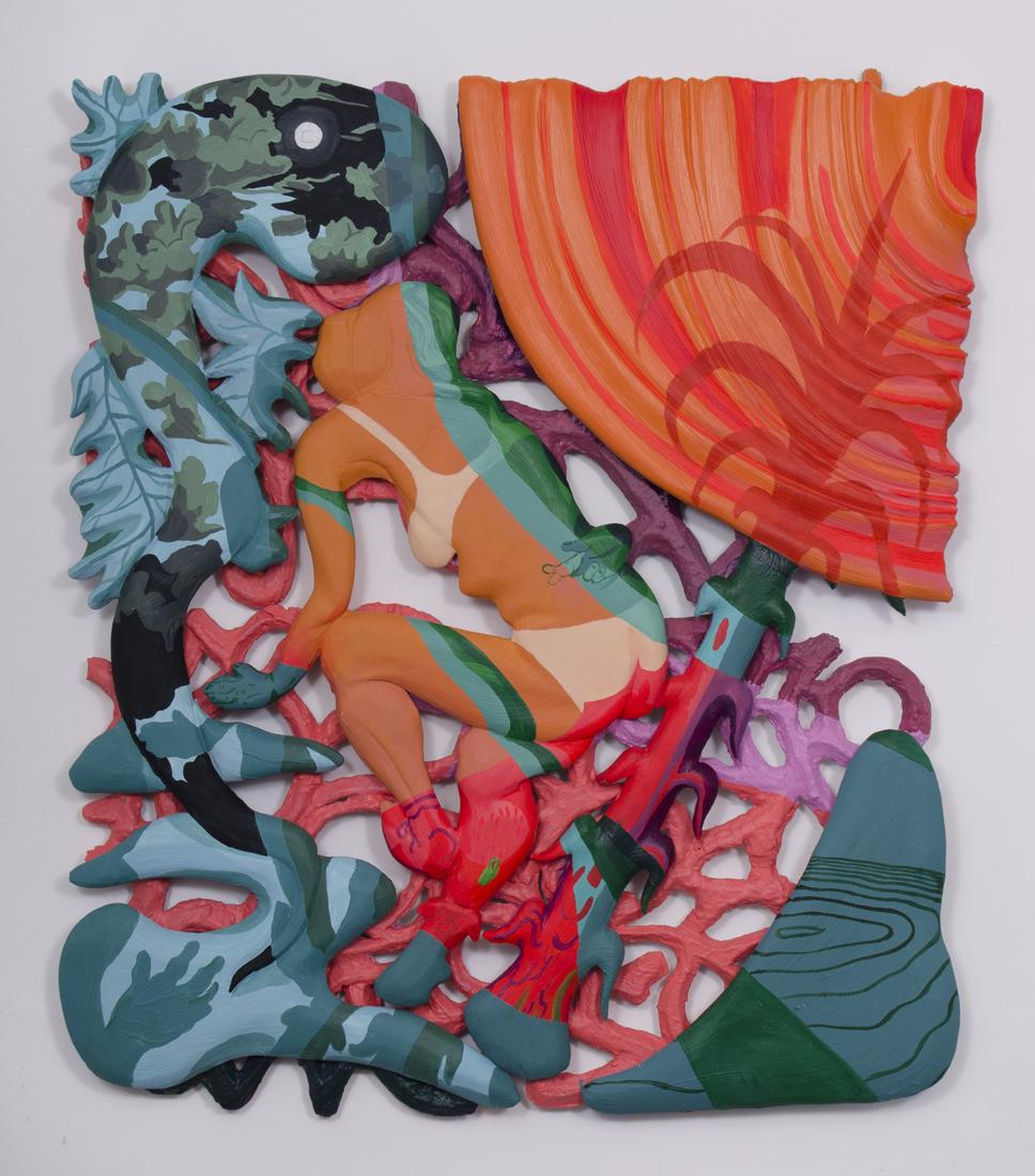 "Night Swim foam, plaster, acrylic, fiberglass 54 x 50 x 2"" 2017"
