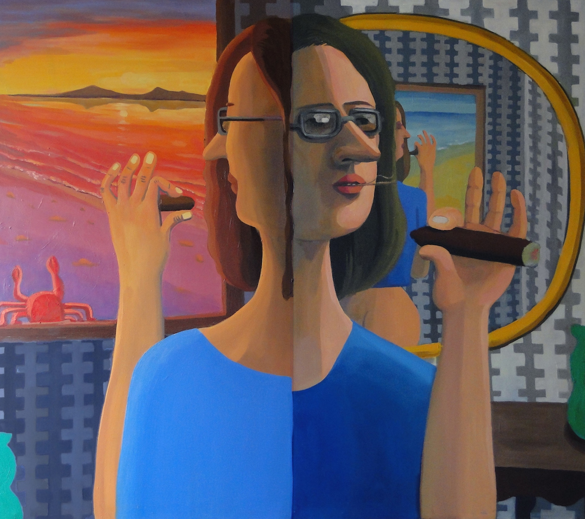 Woman with Cigar oil on canvas 50 x 44 inches 2016