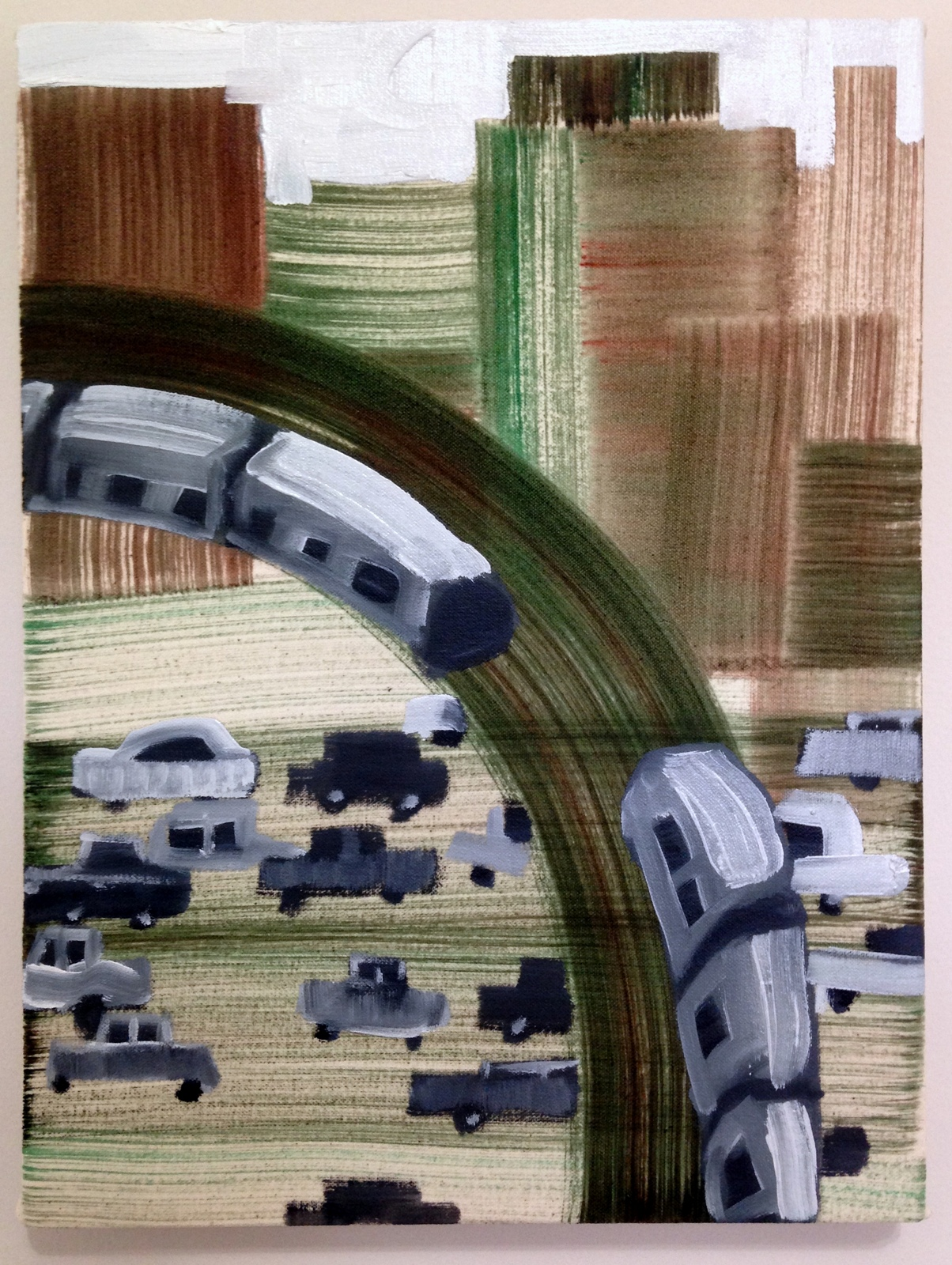 Train turning left (W and N in Lon Island City) 40 x 30 cm oil on cotton 2017