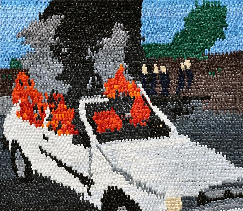 """Car Fire oil on canvas  27 x 31"""" 2012"""