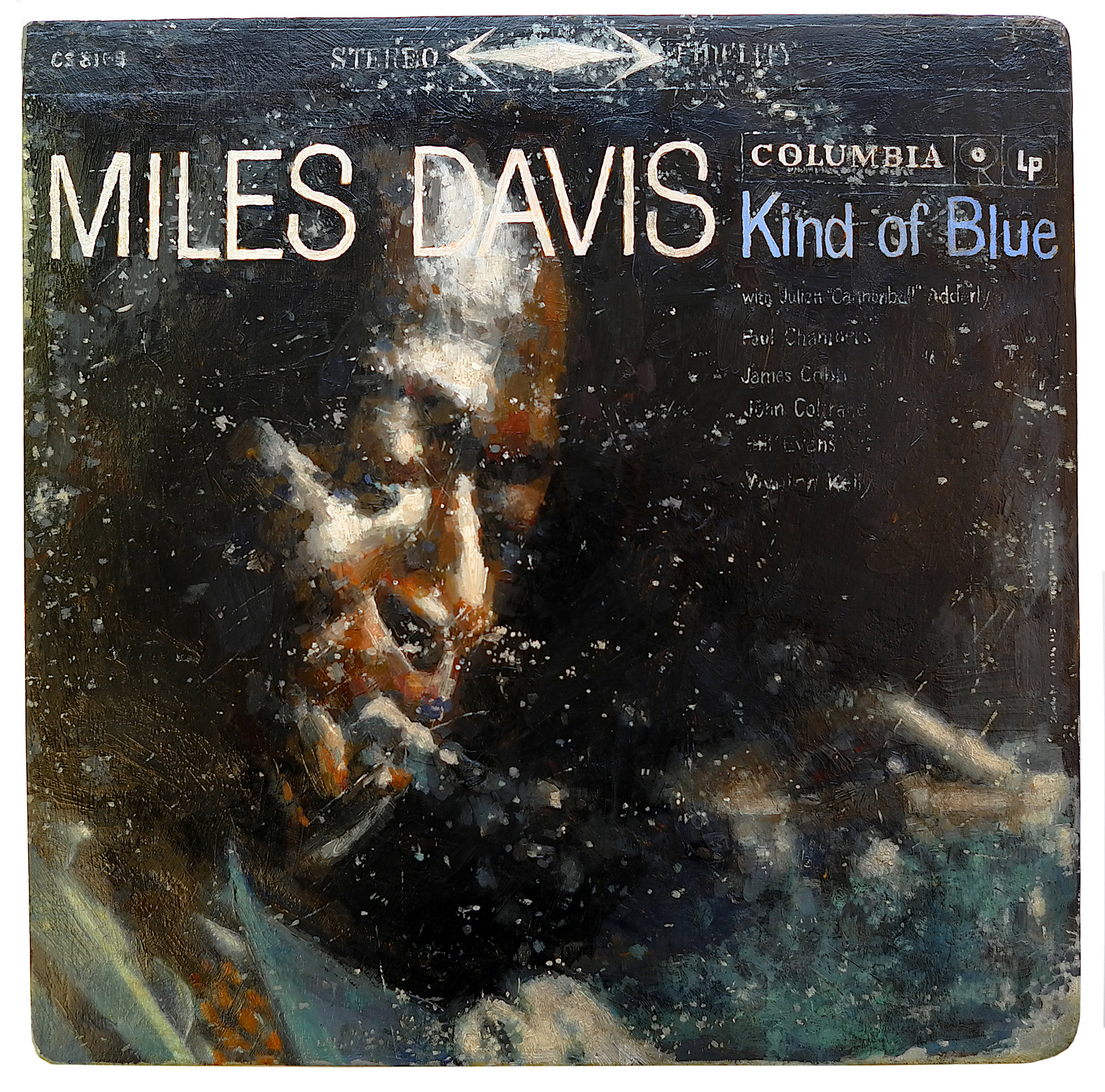 Untitled Project: Any Thing You Want[BG / My Mother's Original/Vintage Copy of Miles Davis' Kind of Blue]   Oil paint on carved wood, 1:1 scale 2014