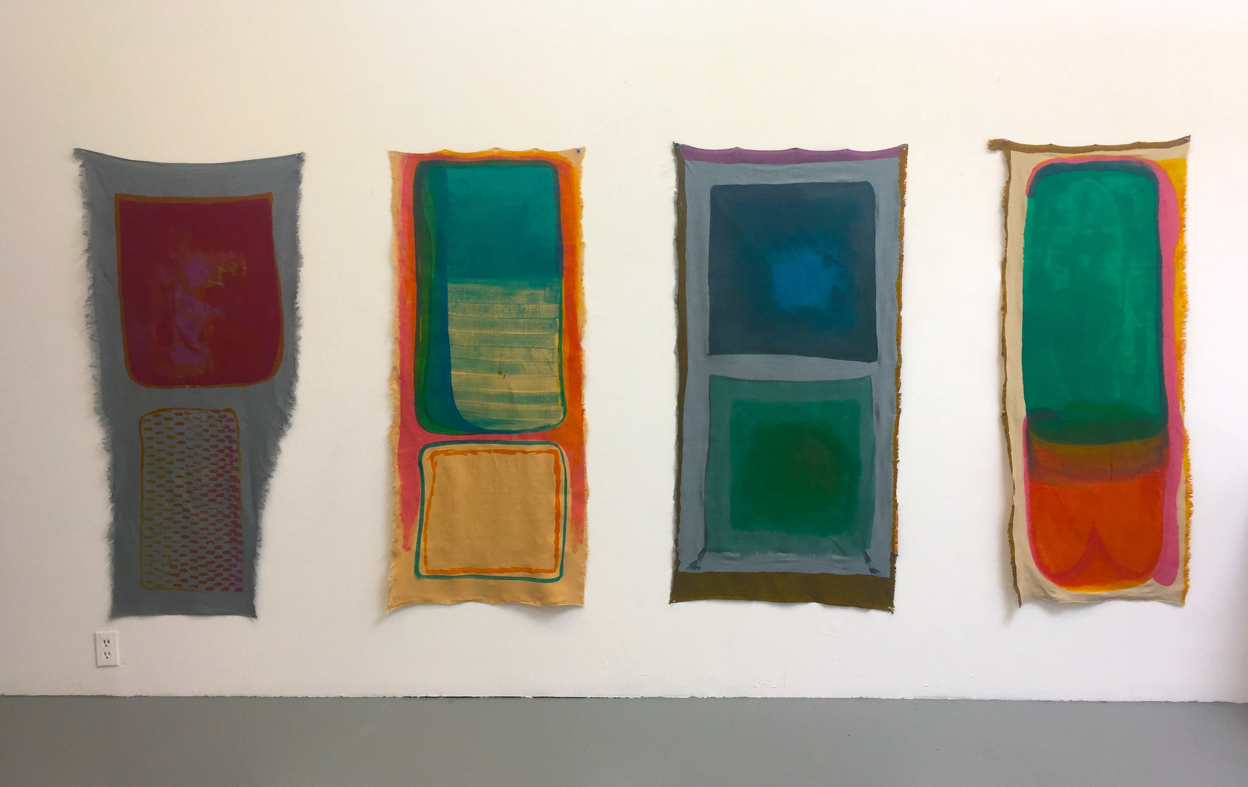 Sinks 1, 2, 3 & 4 hand painted dye on linen 24 x 60 inches each  2017