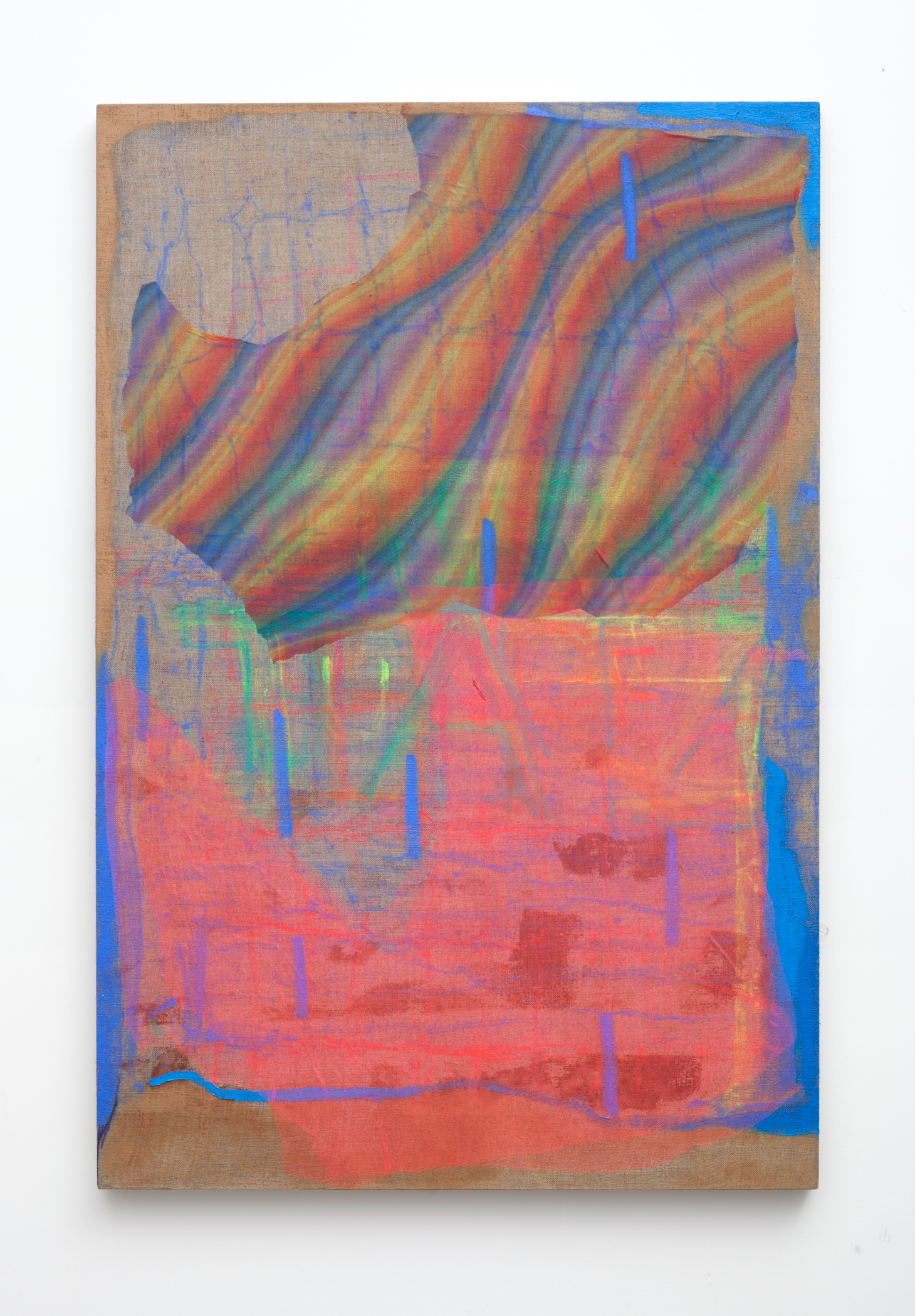 Desert Posts  oil paint, oil stick, tulle and acrylic polymer on linen on wood stretcher 28 x 40 inches  2015-16 Photo by Maggie Shannon