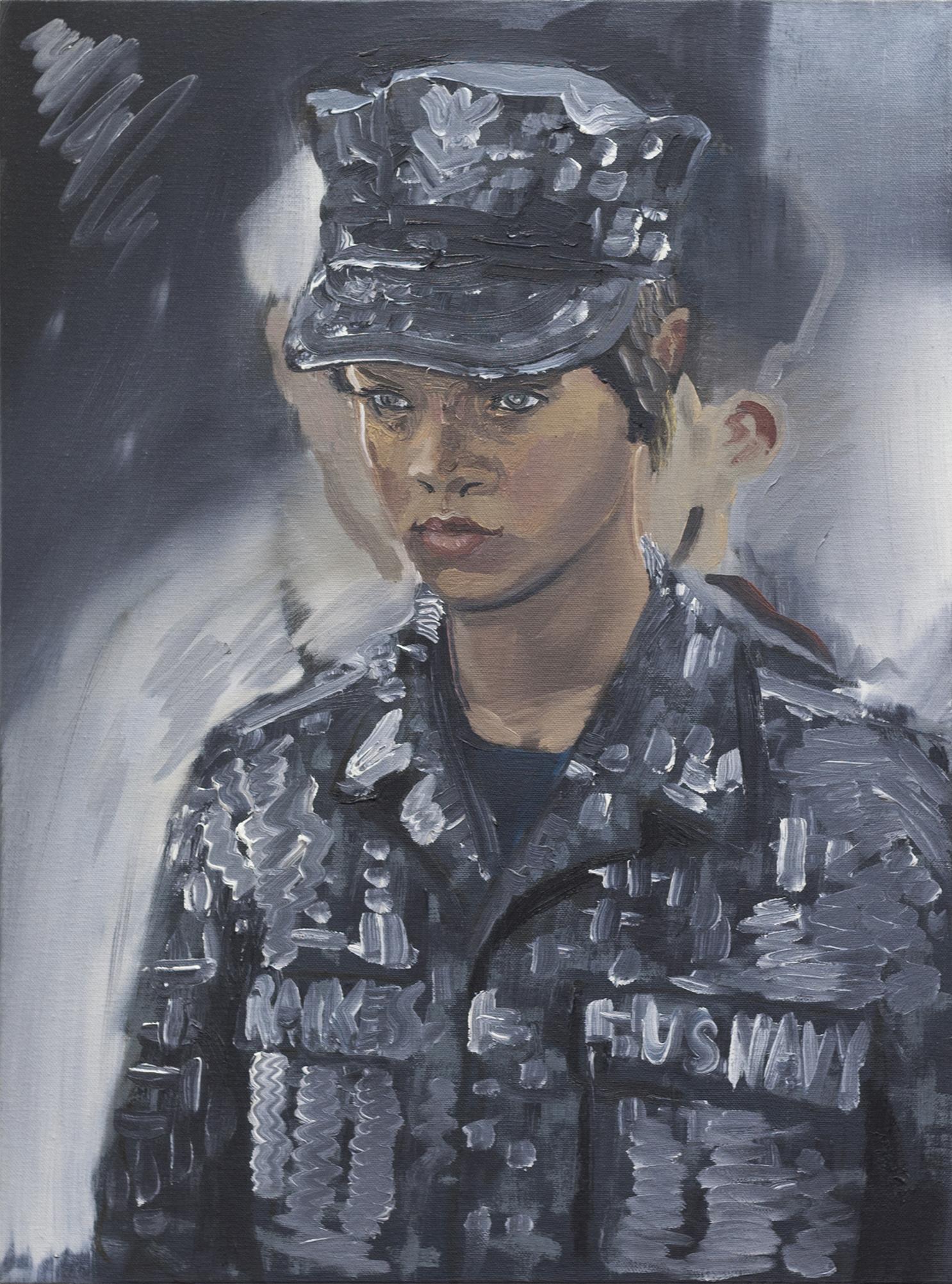 Rihanna, Battleship oil on canvas 18 x 24 2017