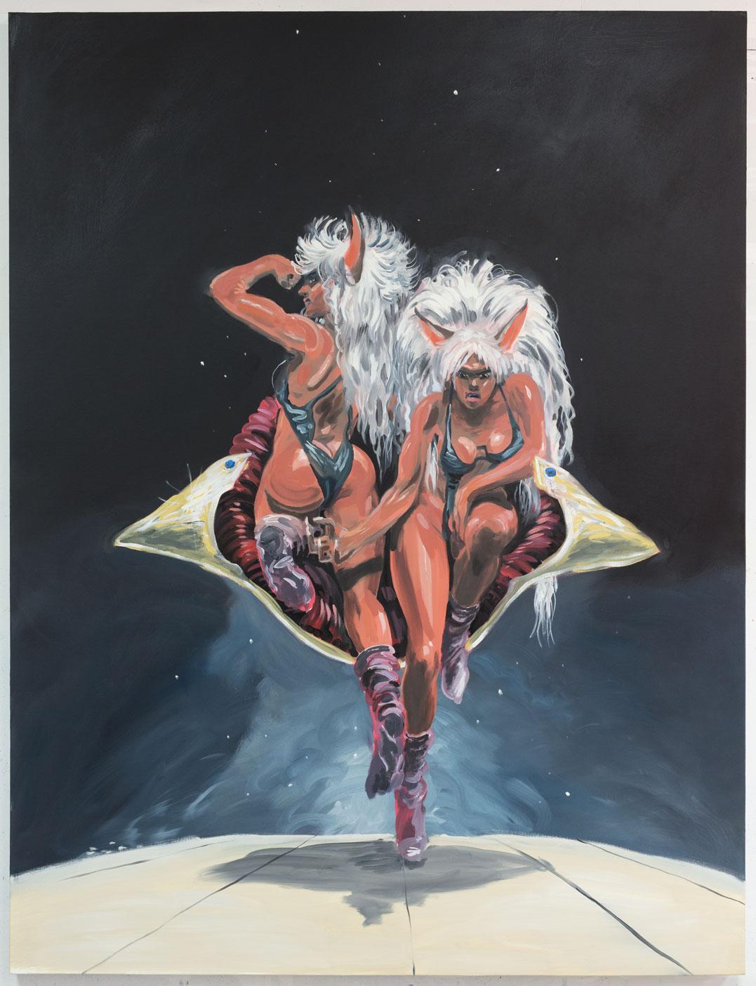 Puma Twins oil on canvas 60 x 80 inches 2017