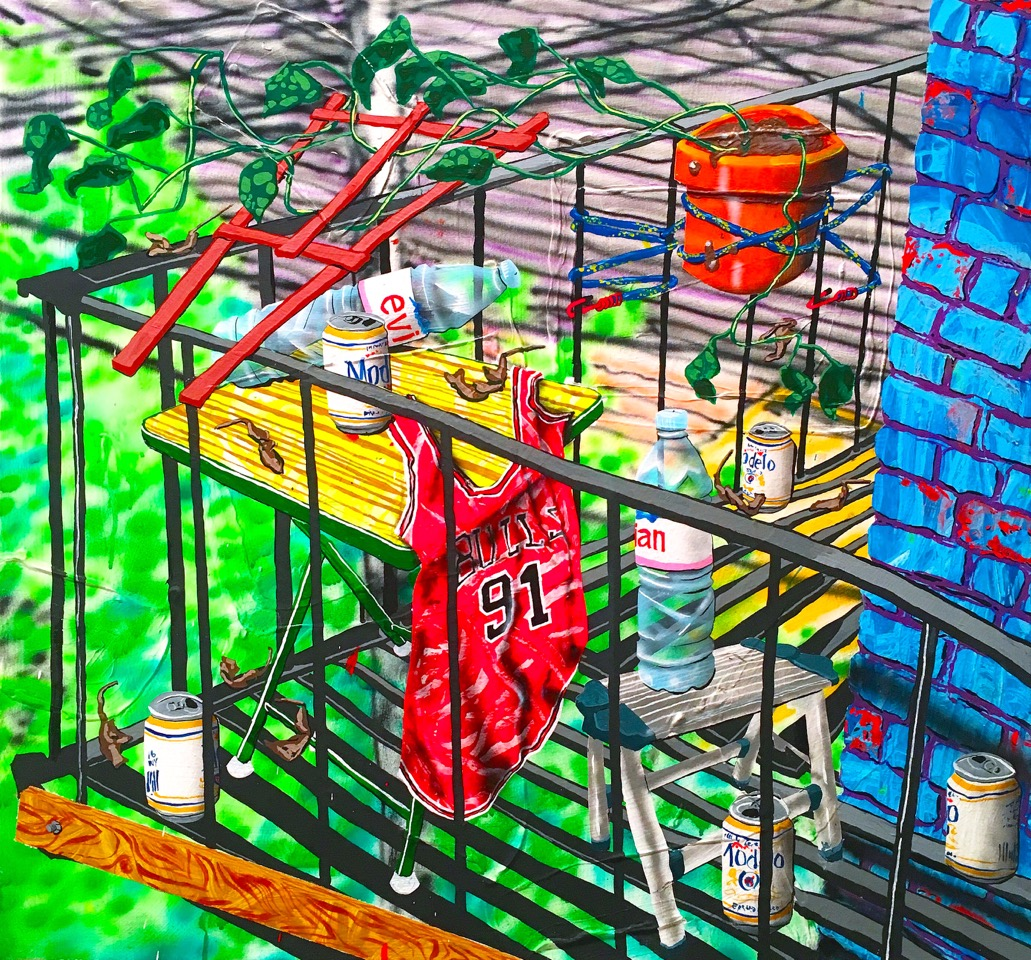 Untitled (fire escape) acrylic on canvas 30 x 32 inches 2016
