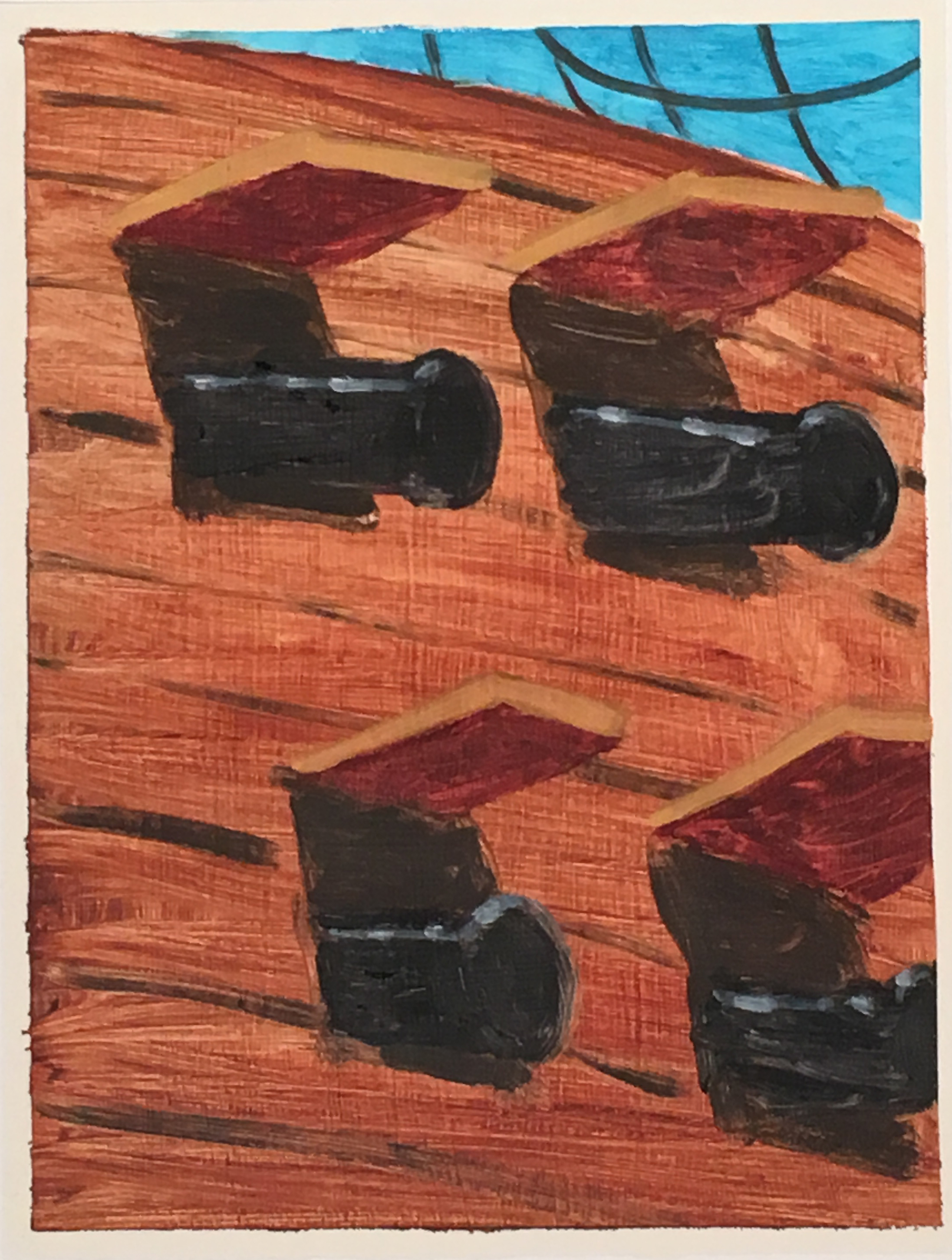 Cannons oil on paper 9 x 12 inches 2017