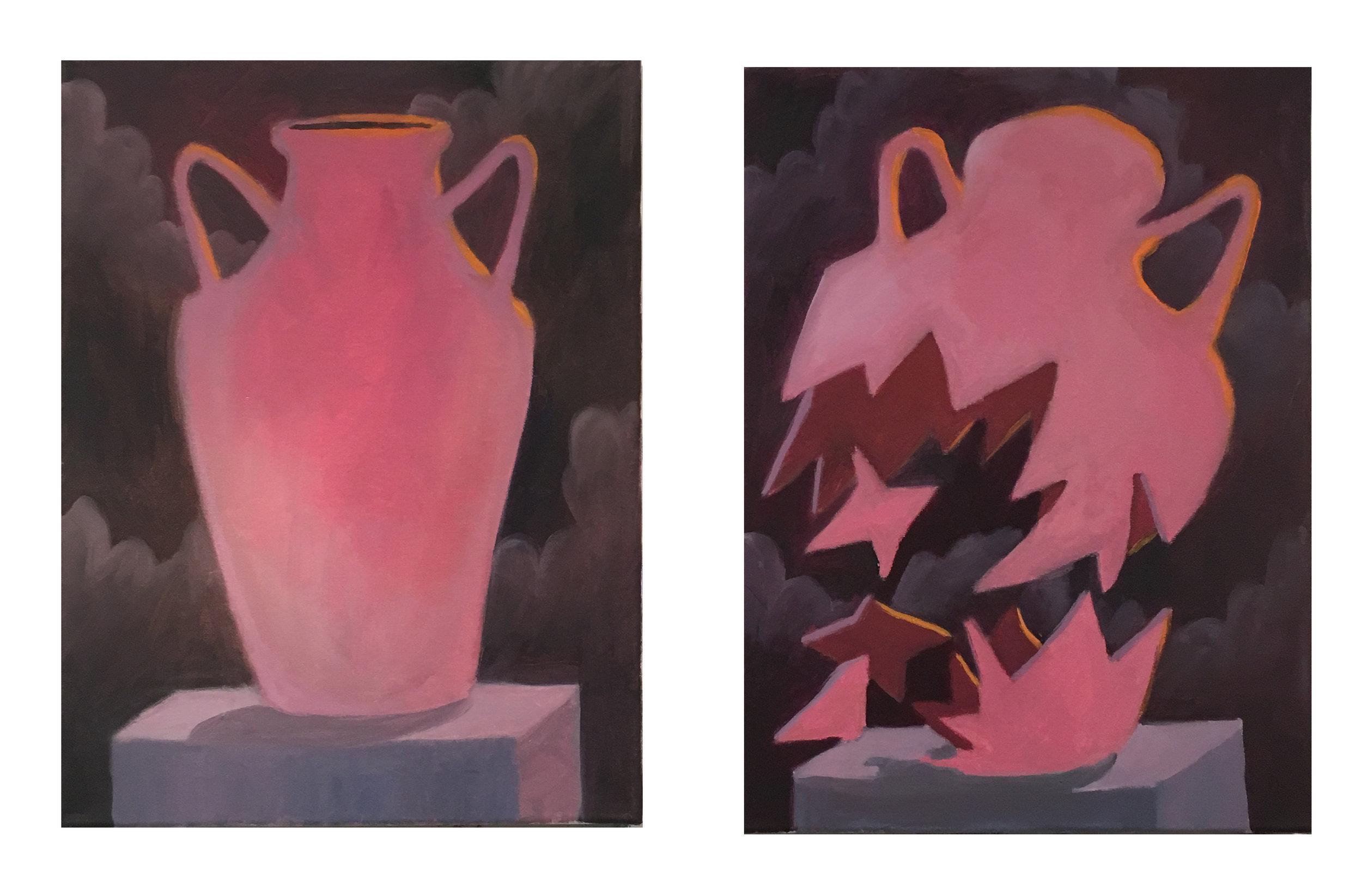 Vase 1, Vase 2 oil on canvas 12 x 16 inches each 2017